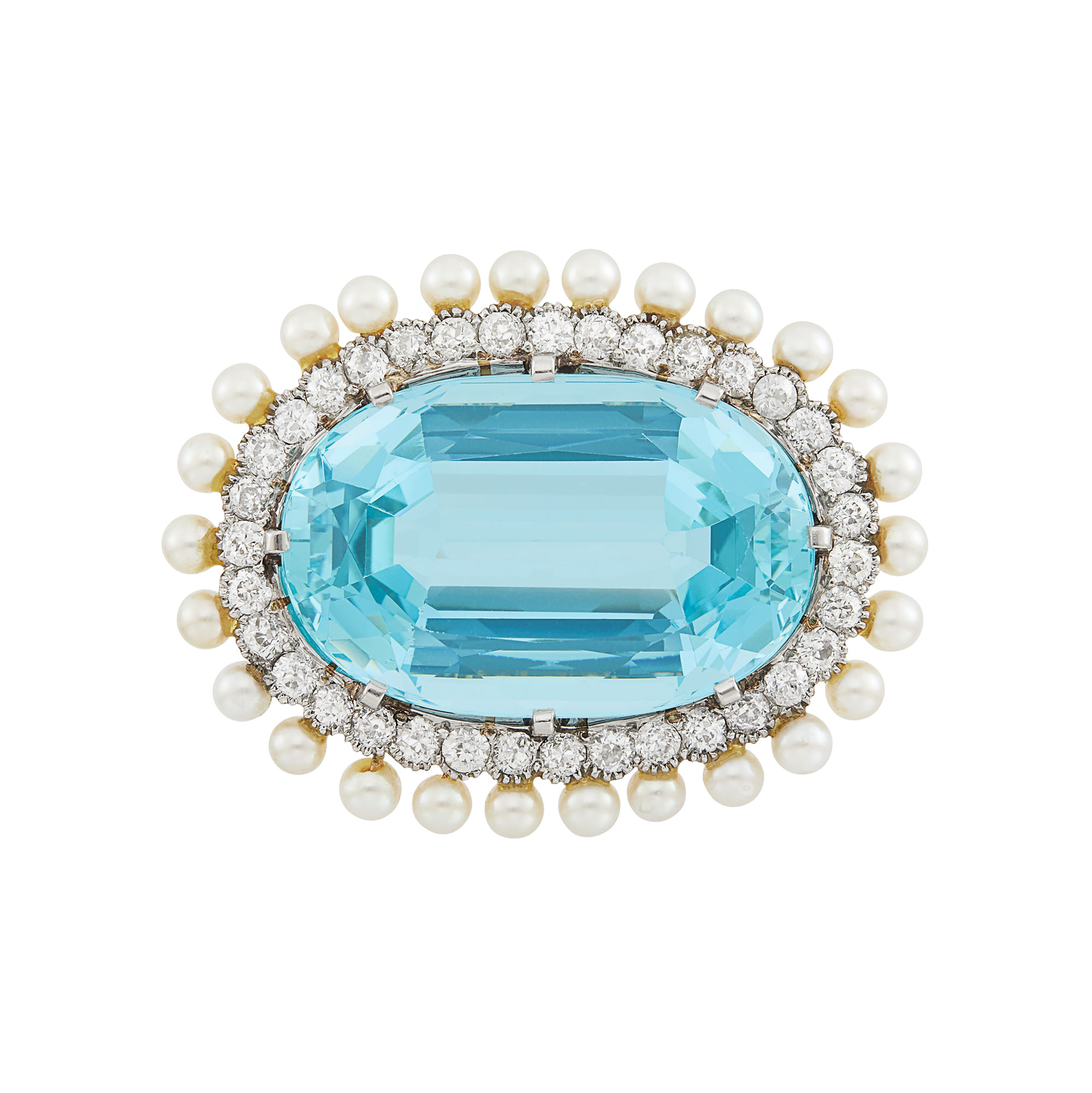 Lot image - Platinum, Gold, Aquamarine, Diamond and Pearl Brooch, Marcus & Co.
