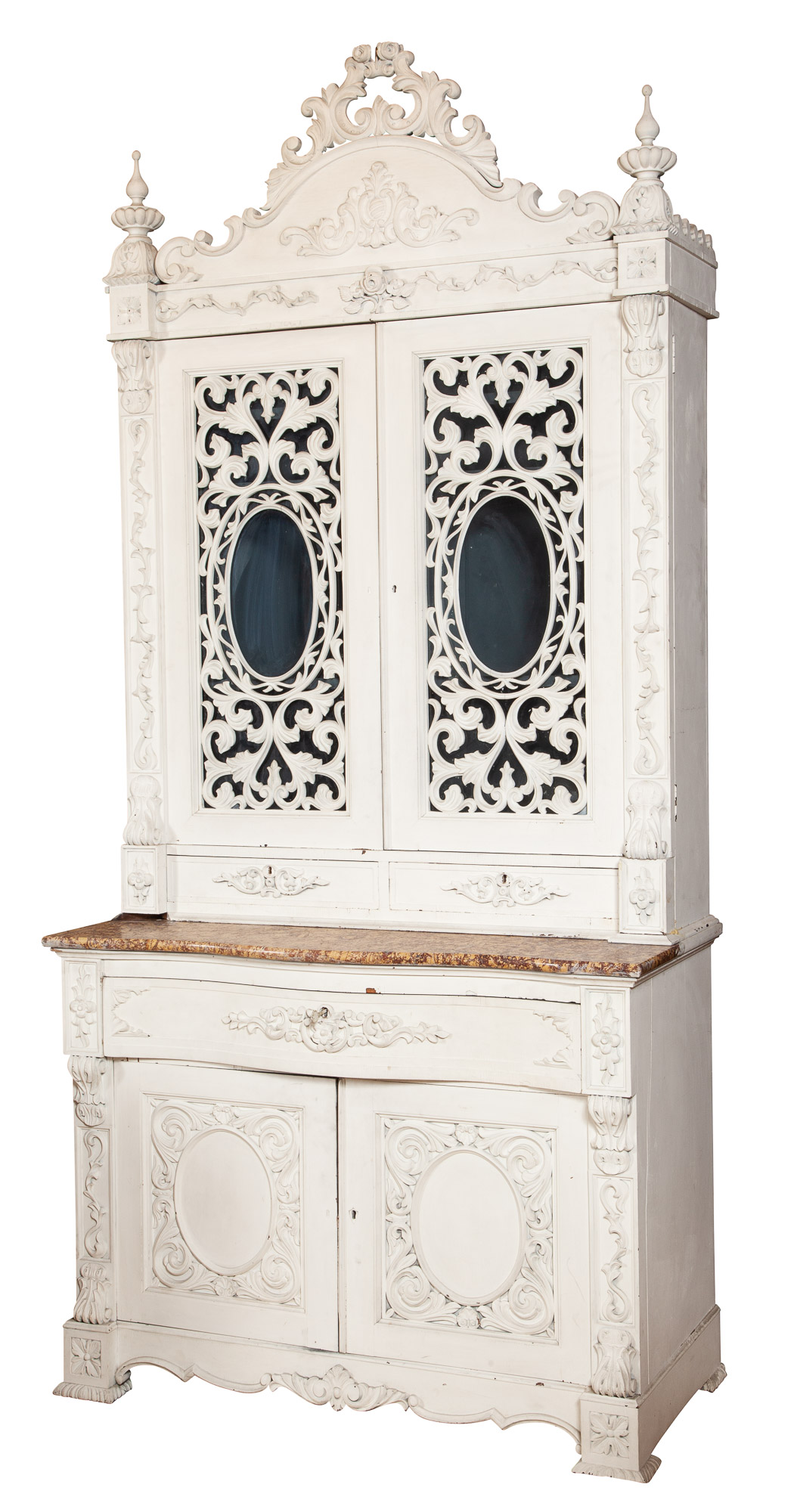 Lot image - Rococo Revival White-Painted and Marble Bookcase/Secretaire Cabinet