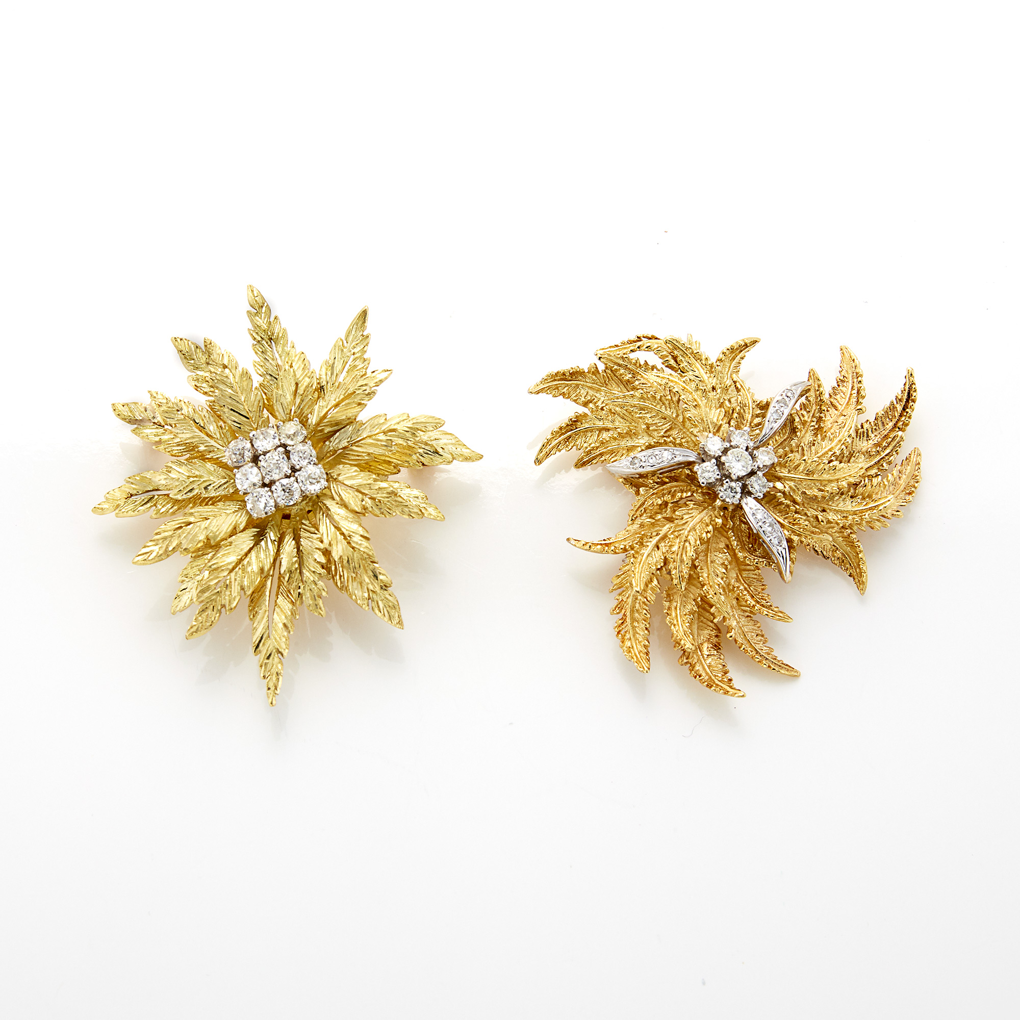 Lot image - Two Gold and Diamond Flower Brooches