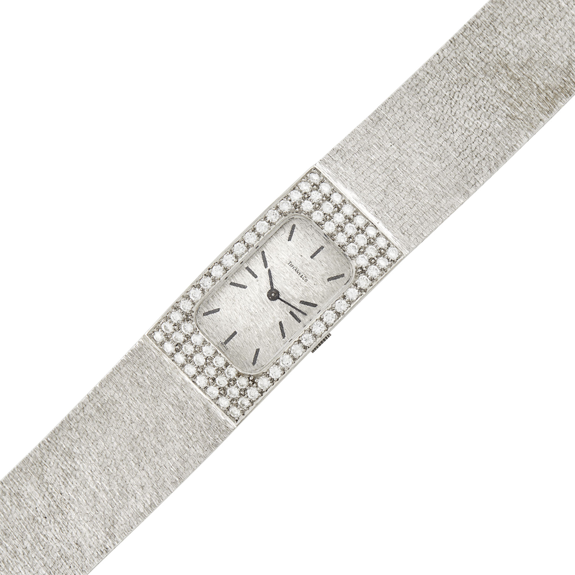 Lot image - Tiffany & Co. White Gold and Diamond Wristwatch, France