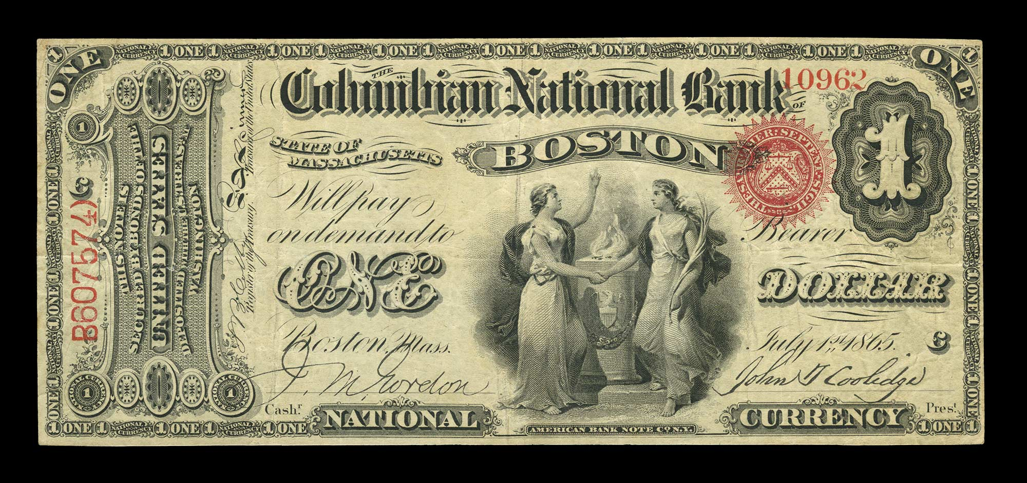 Lot image - United States $1 National Bank Note 1st Charter, Fr. 380a