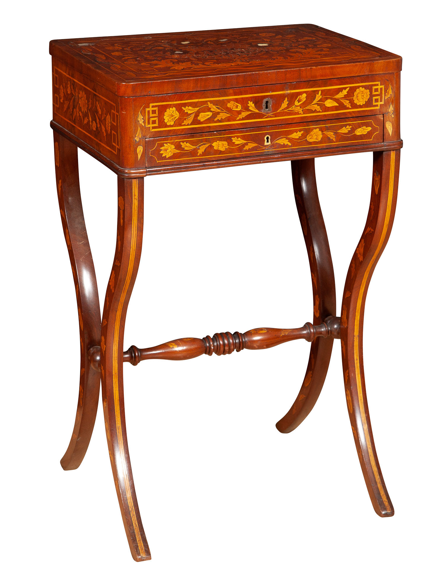 Lot image - Continental Neoclassical Mahogany and Mother-of-Pearl Inlaid Marquetry Work Table