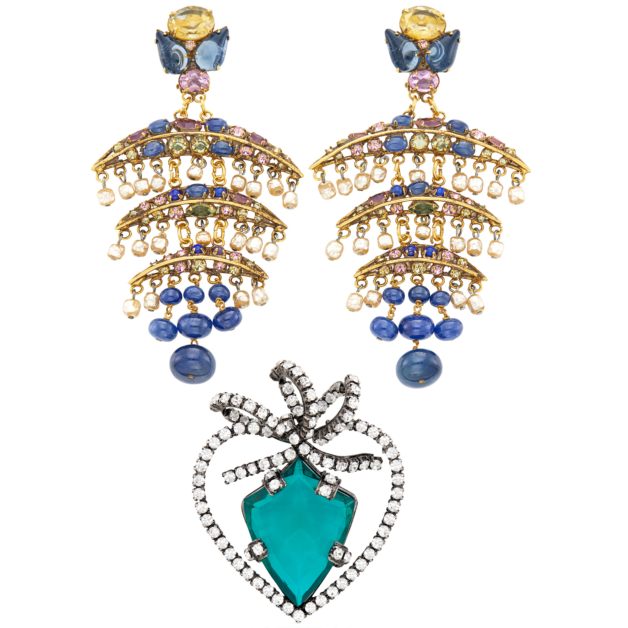 Lot image - Iradj Moini Pair of Sapphire Bead, Freshwater Pearl, Lapis and Rhinestone Pendant-Earclips and Brooch