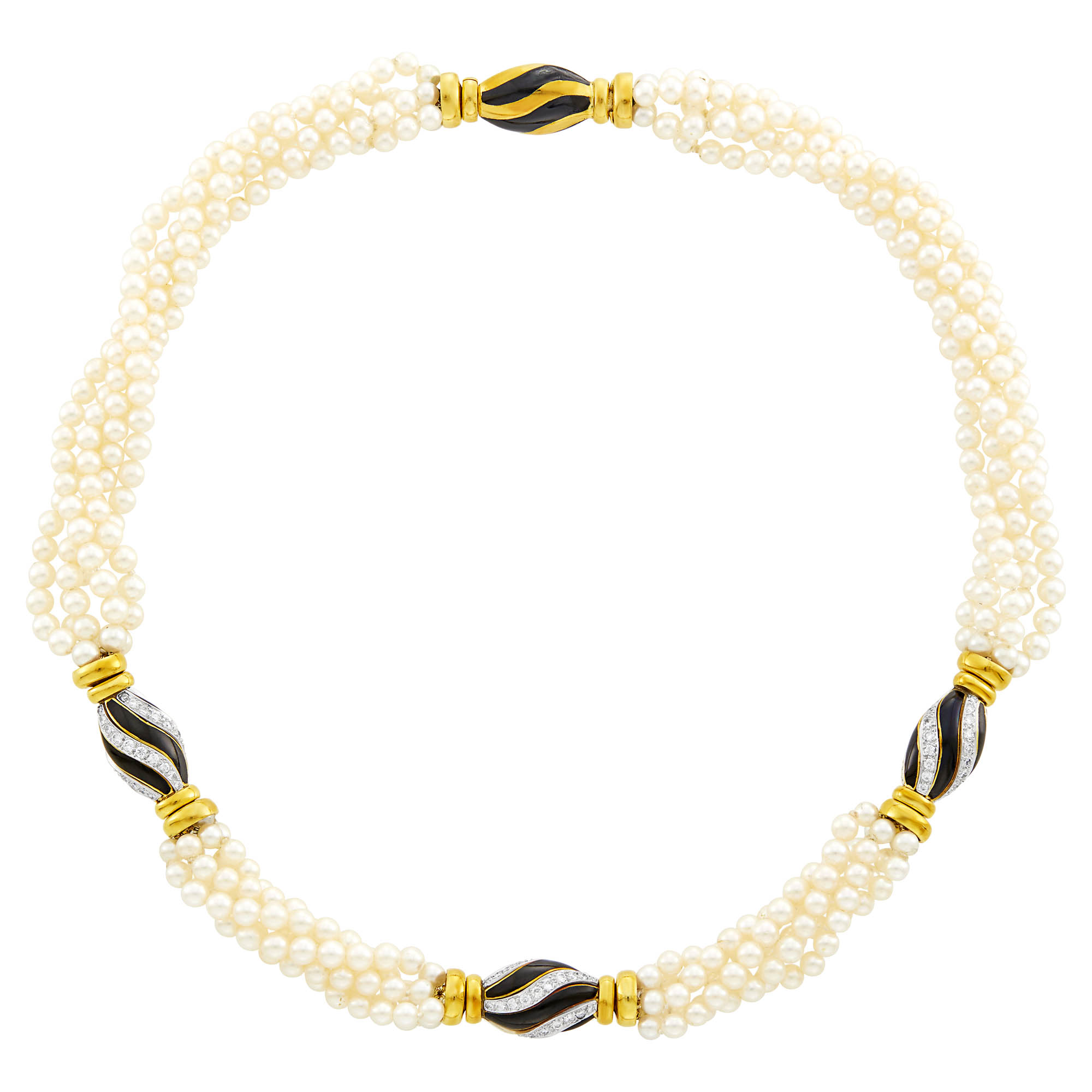 Lot image - Five Strand Cultured Pearl, Two-Color Gold, Diamond and Black Enamel Necklace