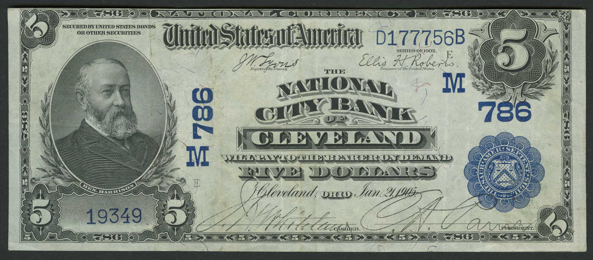 Lot image - United States $5 National Bank Note, Series 2 Date Back, Fr. 590