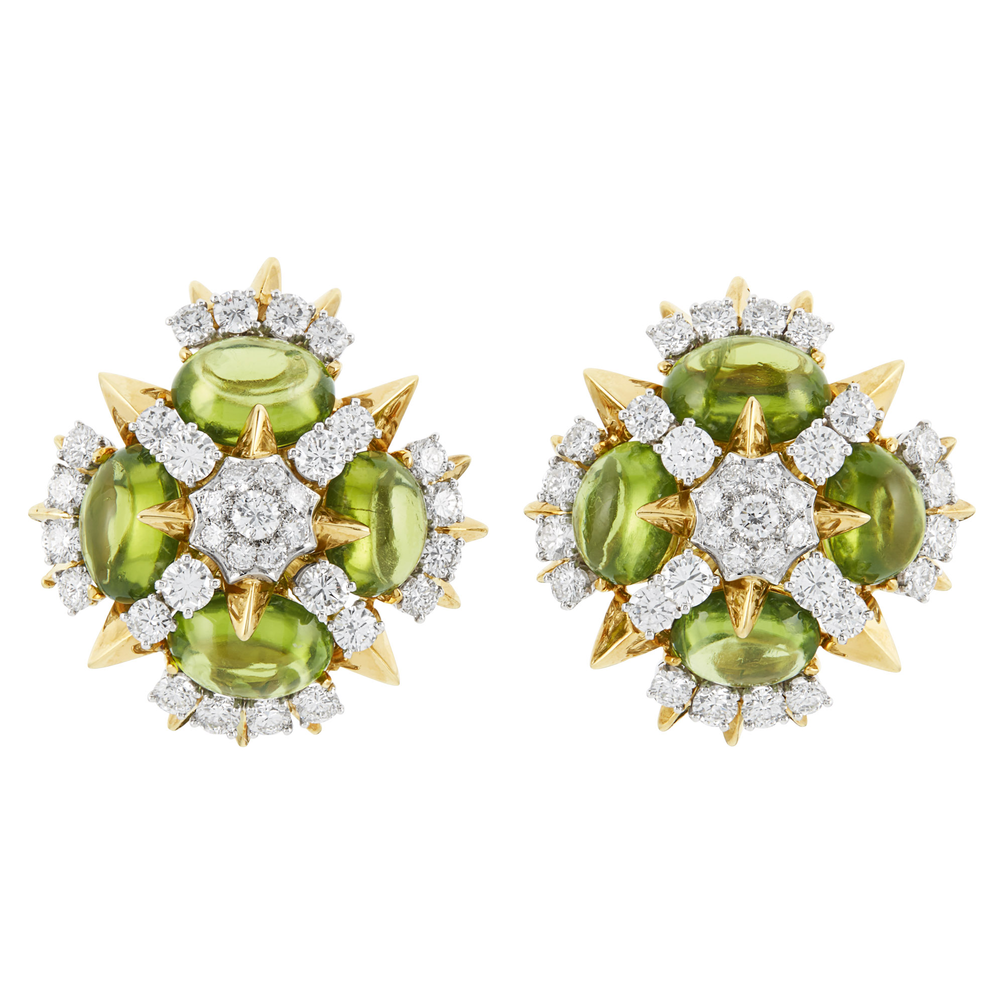 Lot image - Pair of Gold, Platinum, Peridot and Diamond Earclips, Tiffany & Co.