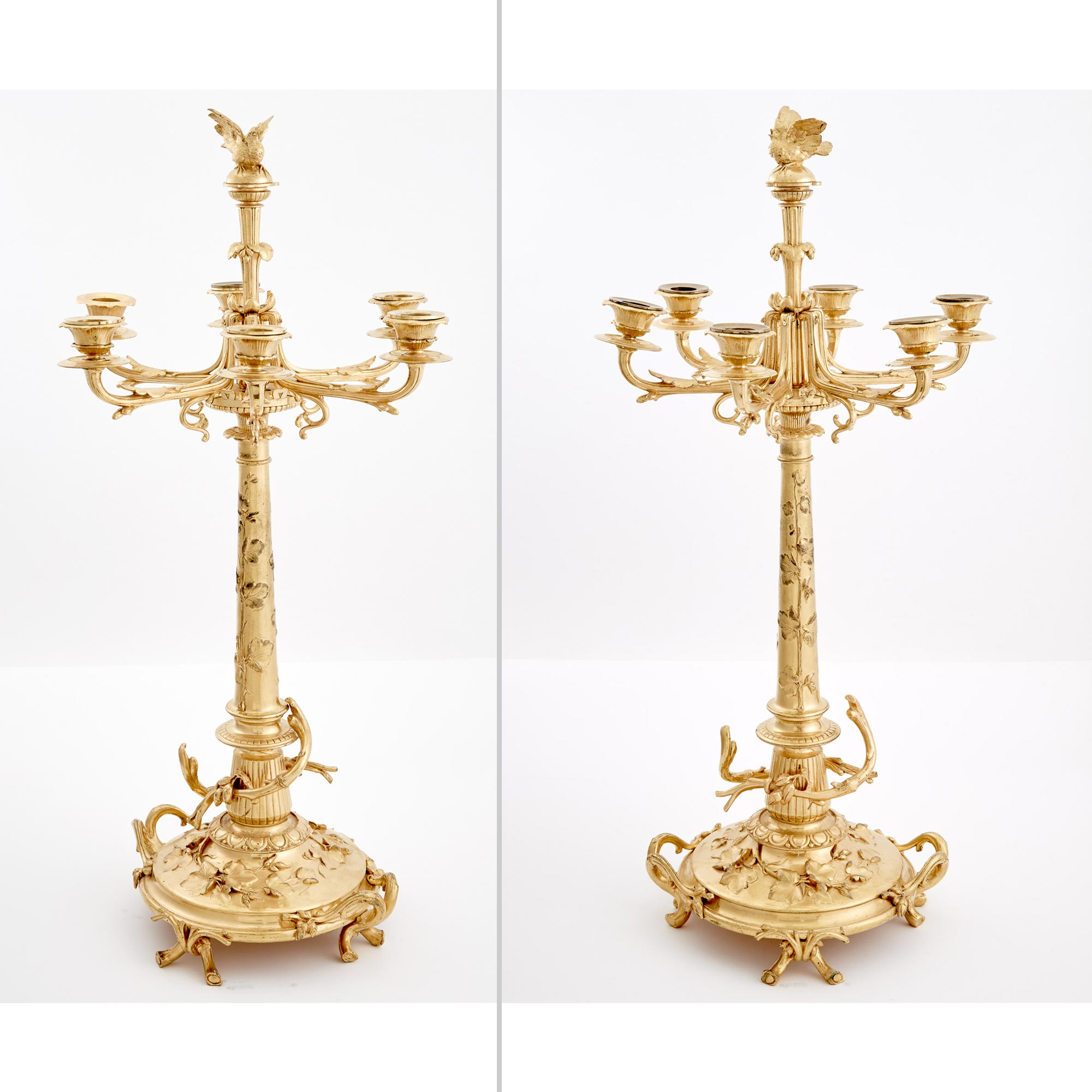 Lot image - Pair of Christofle Gilt-Metal Six-Light Candelabra