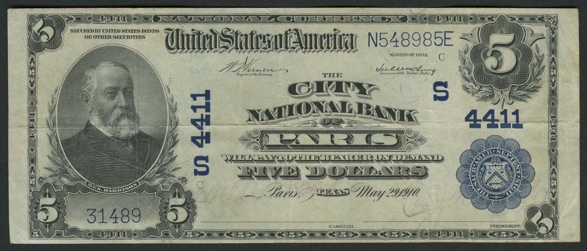 Lot image - United States $5 National Bank Note, Series 3, Fr. 607