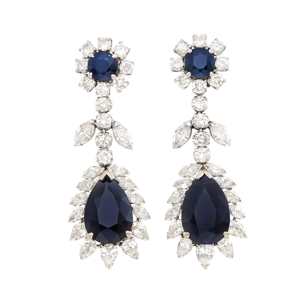 Lot image - Pair of White Gold, Sapphire and Diamond Pendant-Earclips