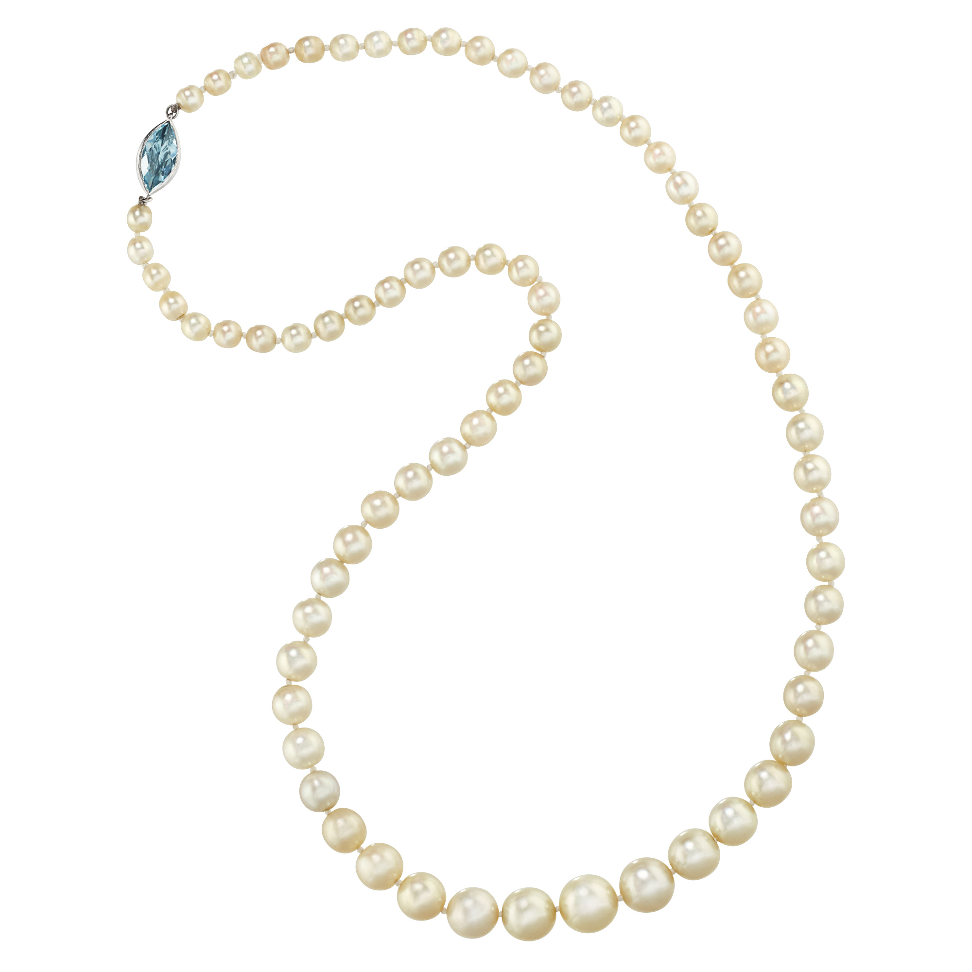 Lot image - Graduated Natural Pearl Necklace with Platinum and Aquamarine Clasp
