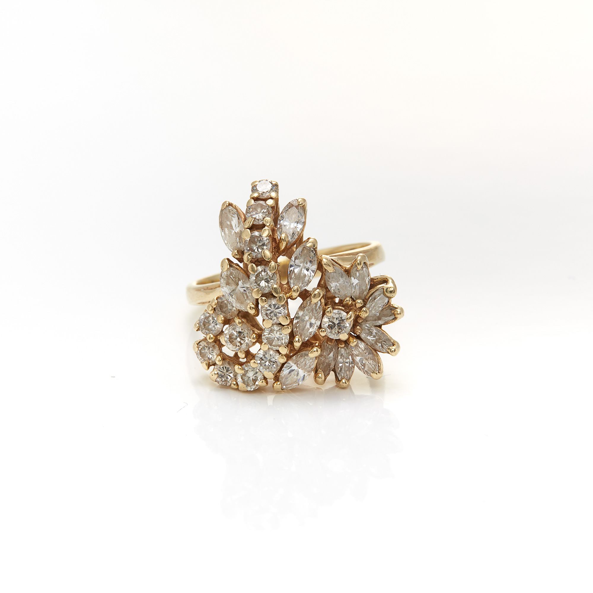Lot image - Gold and Diamond Cluster Ring