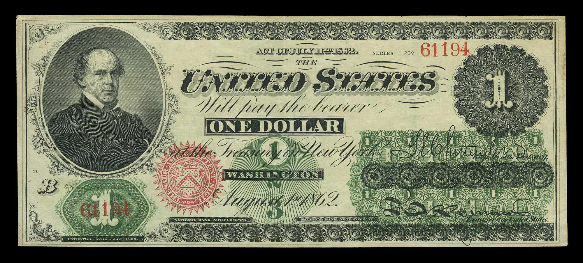 Lot image - United States $1 1862 Legal Tender, Fr. 16a