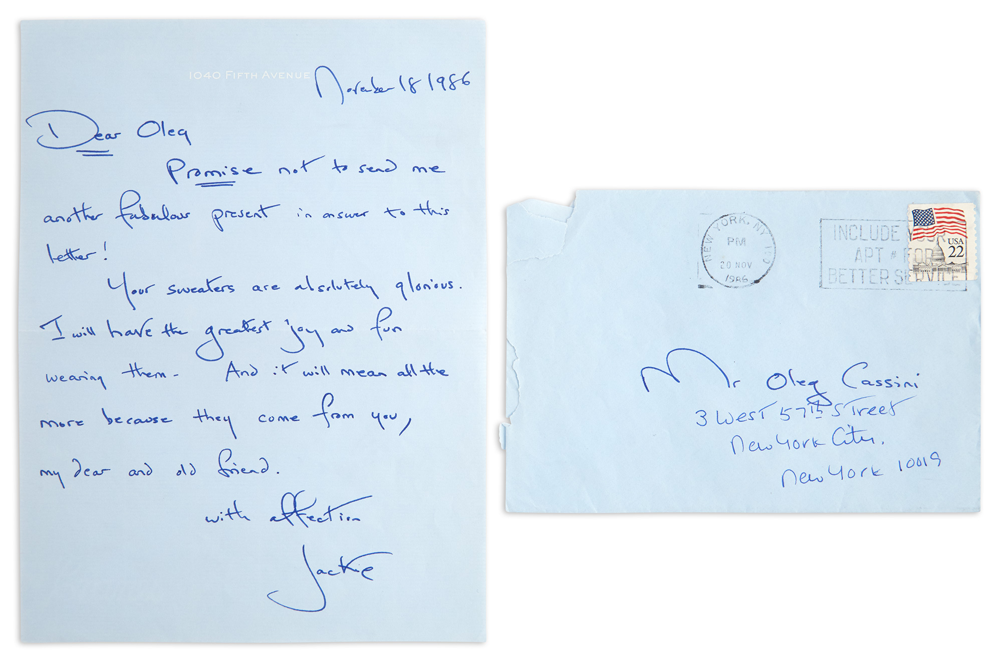 Lot image - KENNEDY ONASSIS, JACQUELINE  Autograph letter signed to Oleg Cassini.
