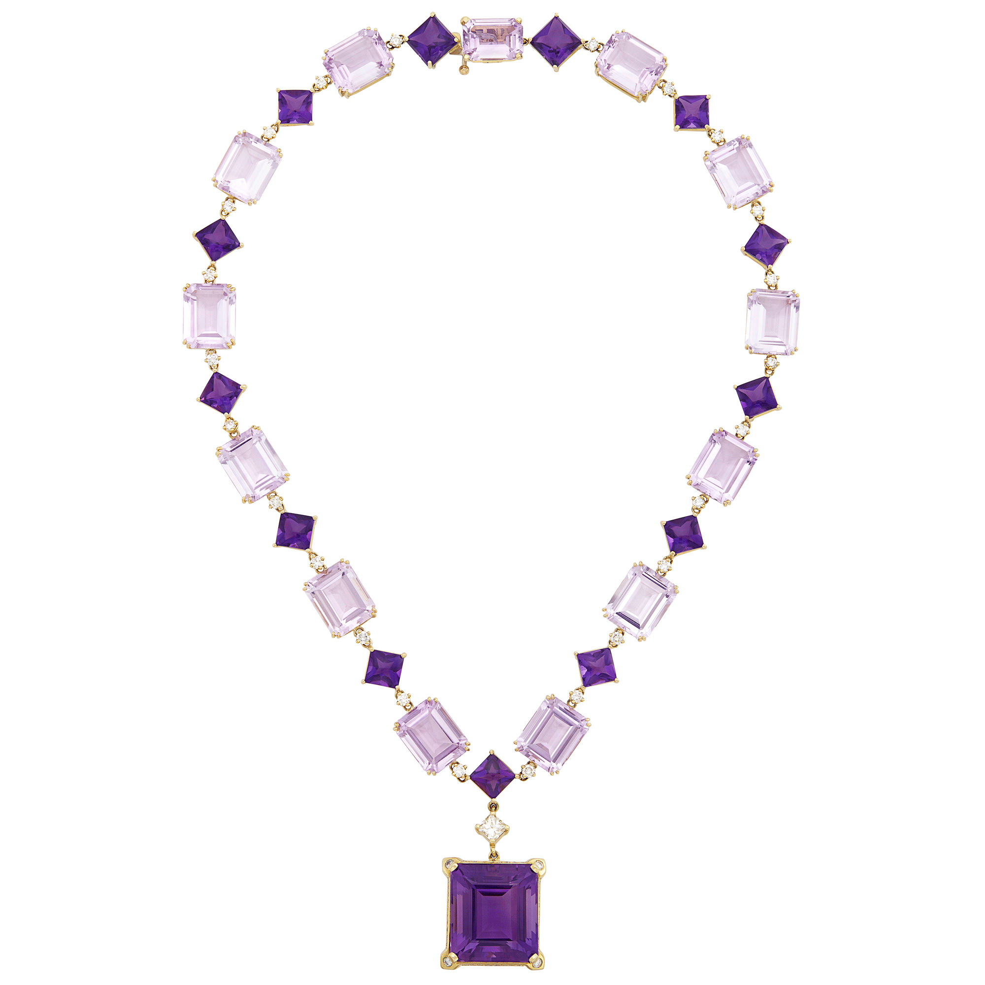 Lot image - Gold, Amethyst, Rose de France Amethyst, Cabochon Amethyst and Diamond Pendant-Necklace