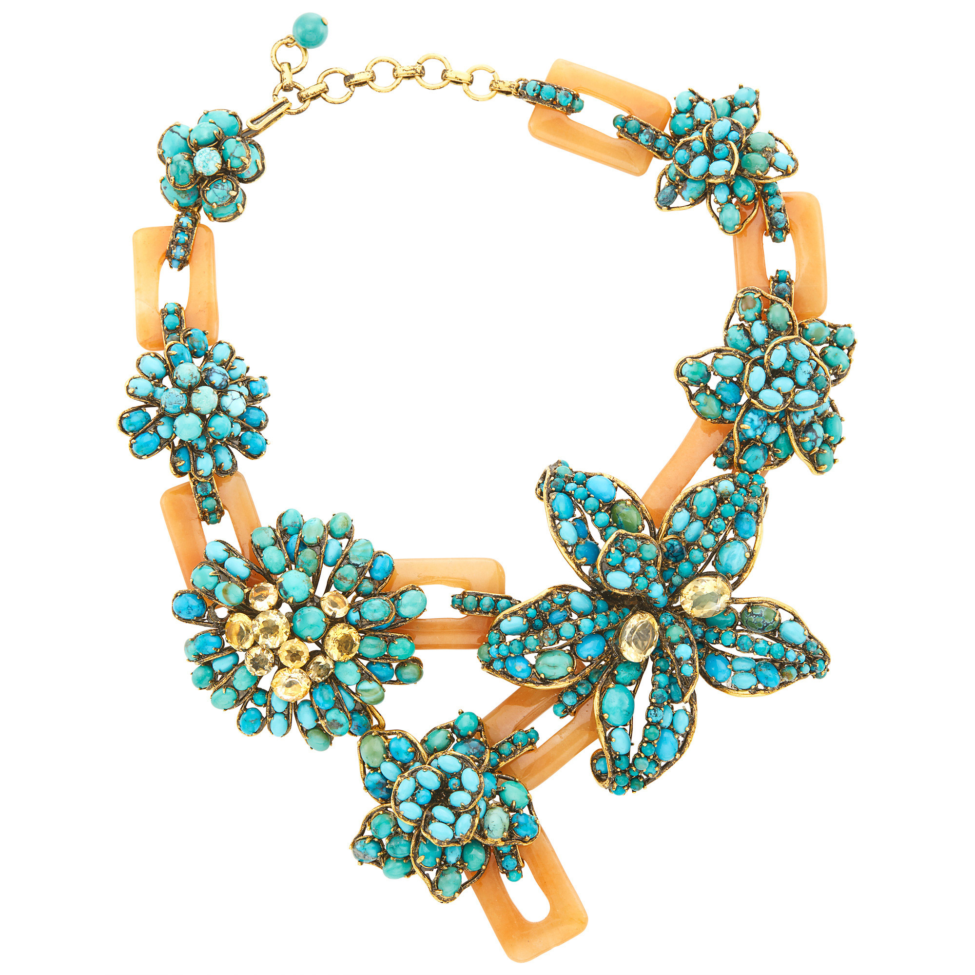 Lot image - Iradj Moini Chalcedony Link, Turquoise and Citrine Flower Necklace