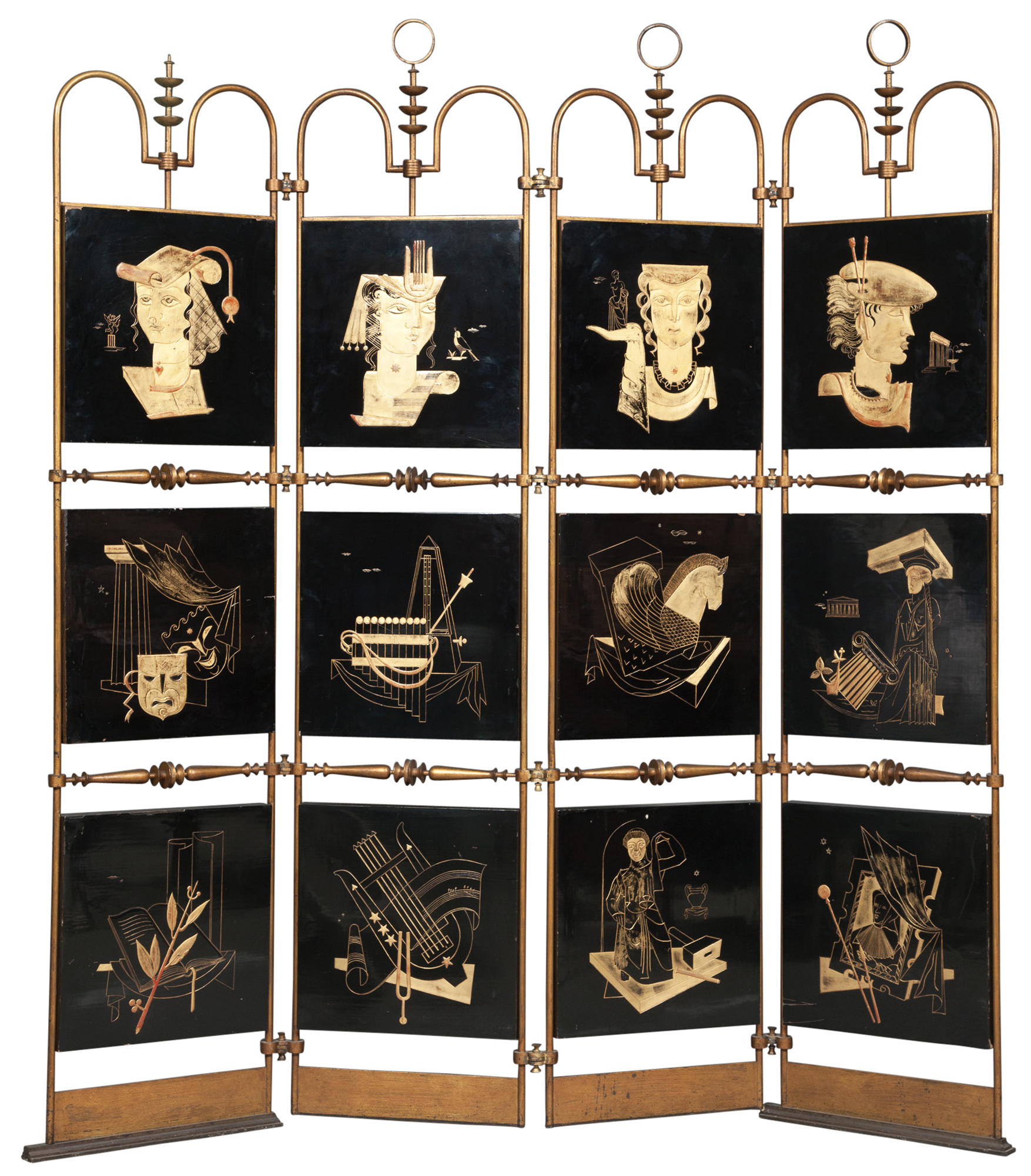 Lot image - French Art Deco Gilt and Black Lacquered and Gilt Metal Four-Panel Screen