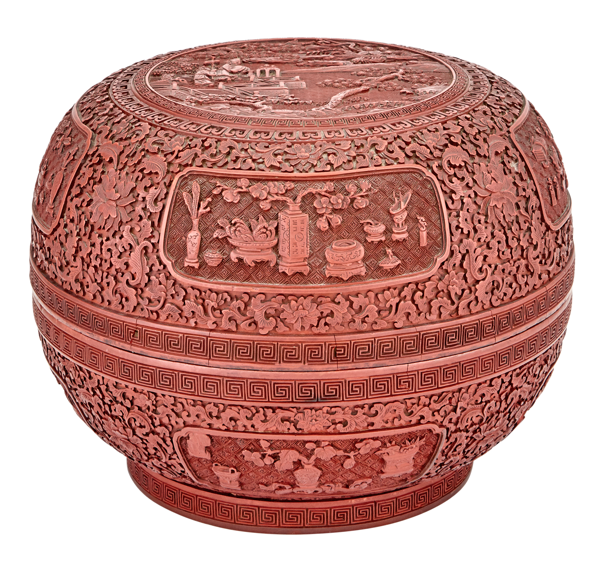 Lot image - An Imperial Chinese Cinnabar Lacquer Domed Box and Cover