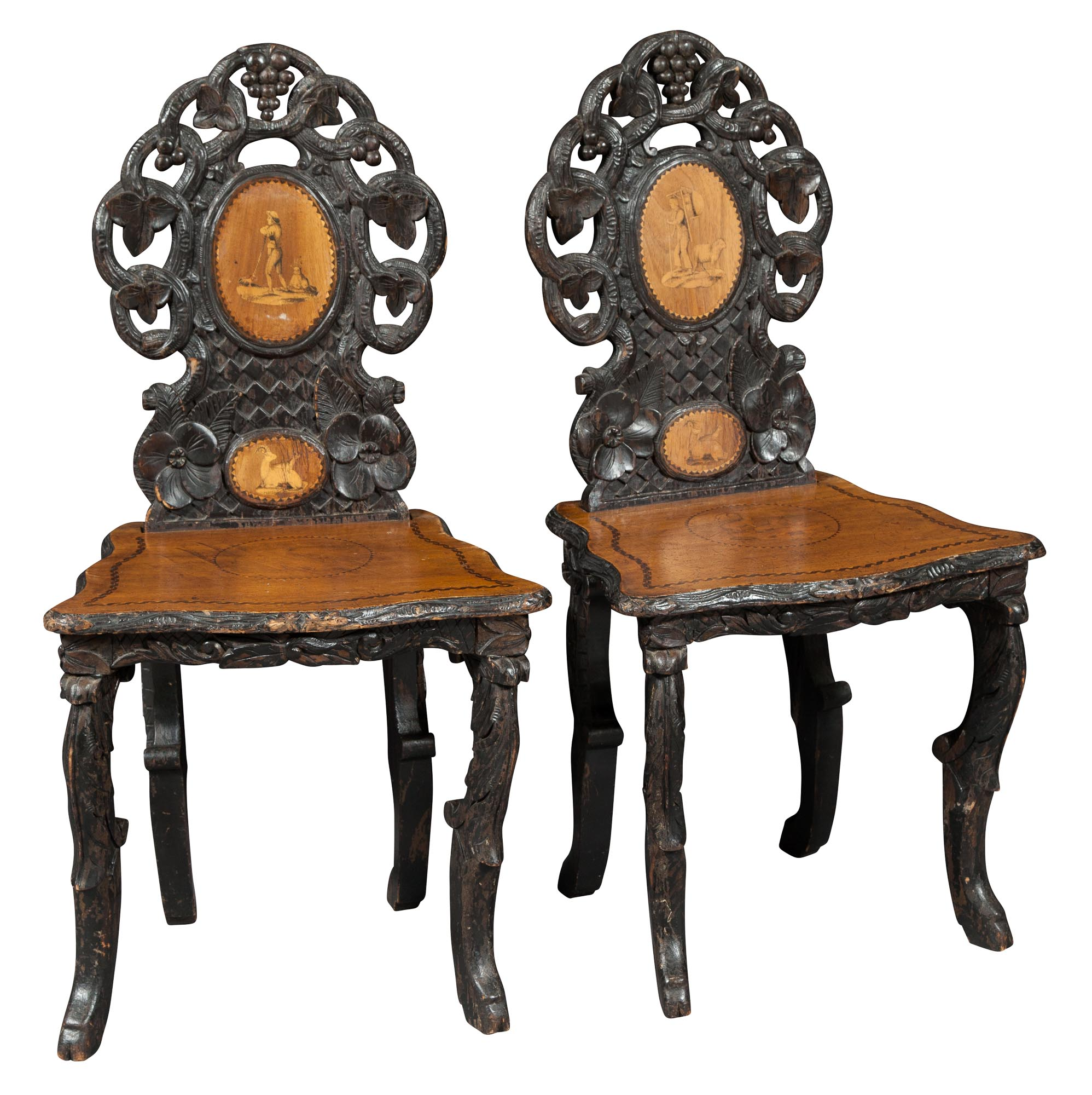 Lot image - Pair of Black Forest Brown-Painted and Marquetry Hall Chairs