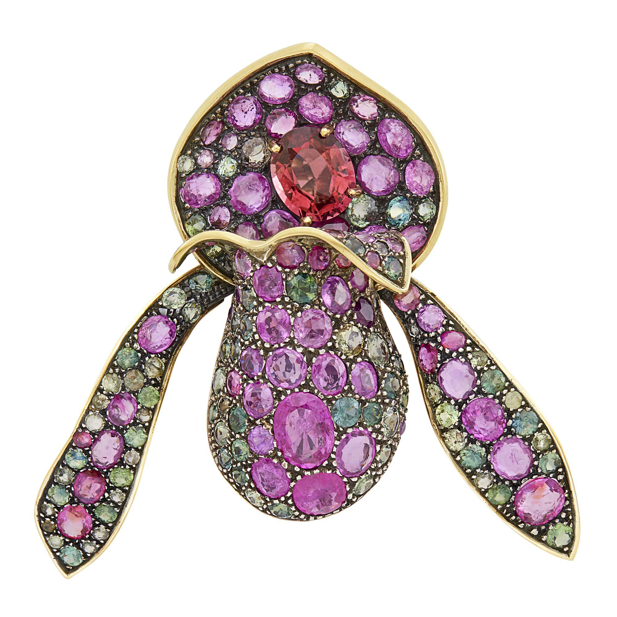 Lot image - Gold, Blackened Gold and Gem-Set Orchid Clip-Brooch