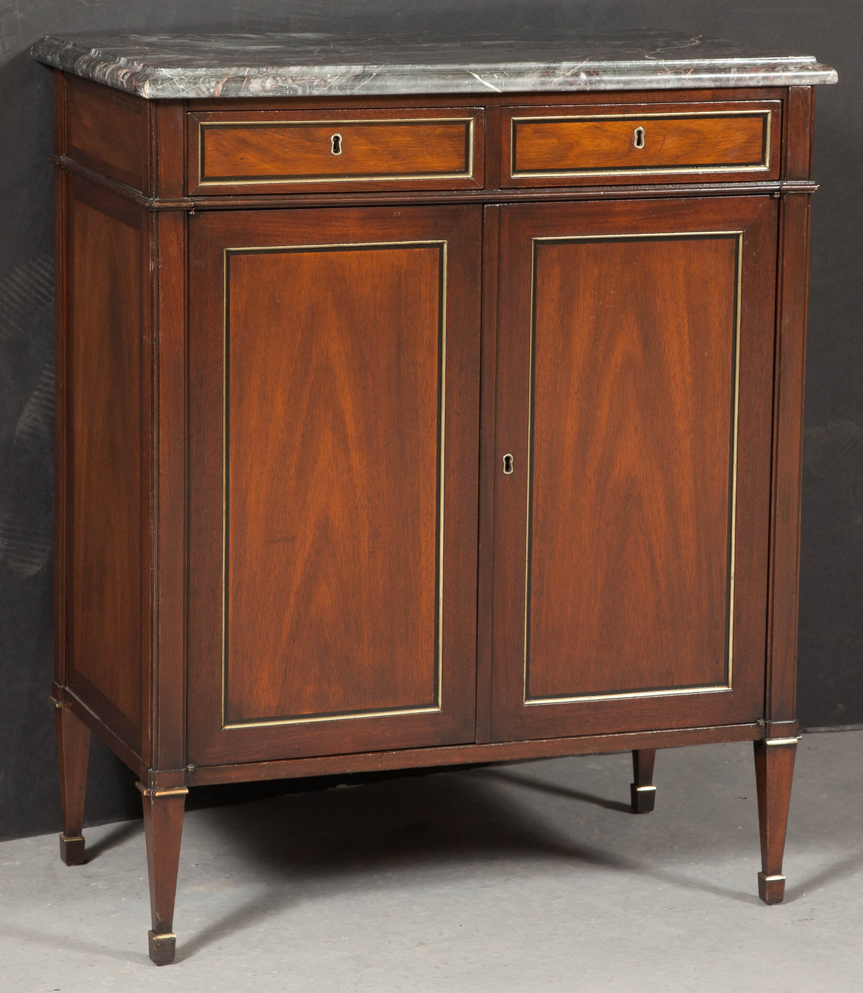 Lot image - Regency Style Mahogany Marble Top Cabinet
