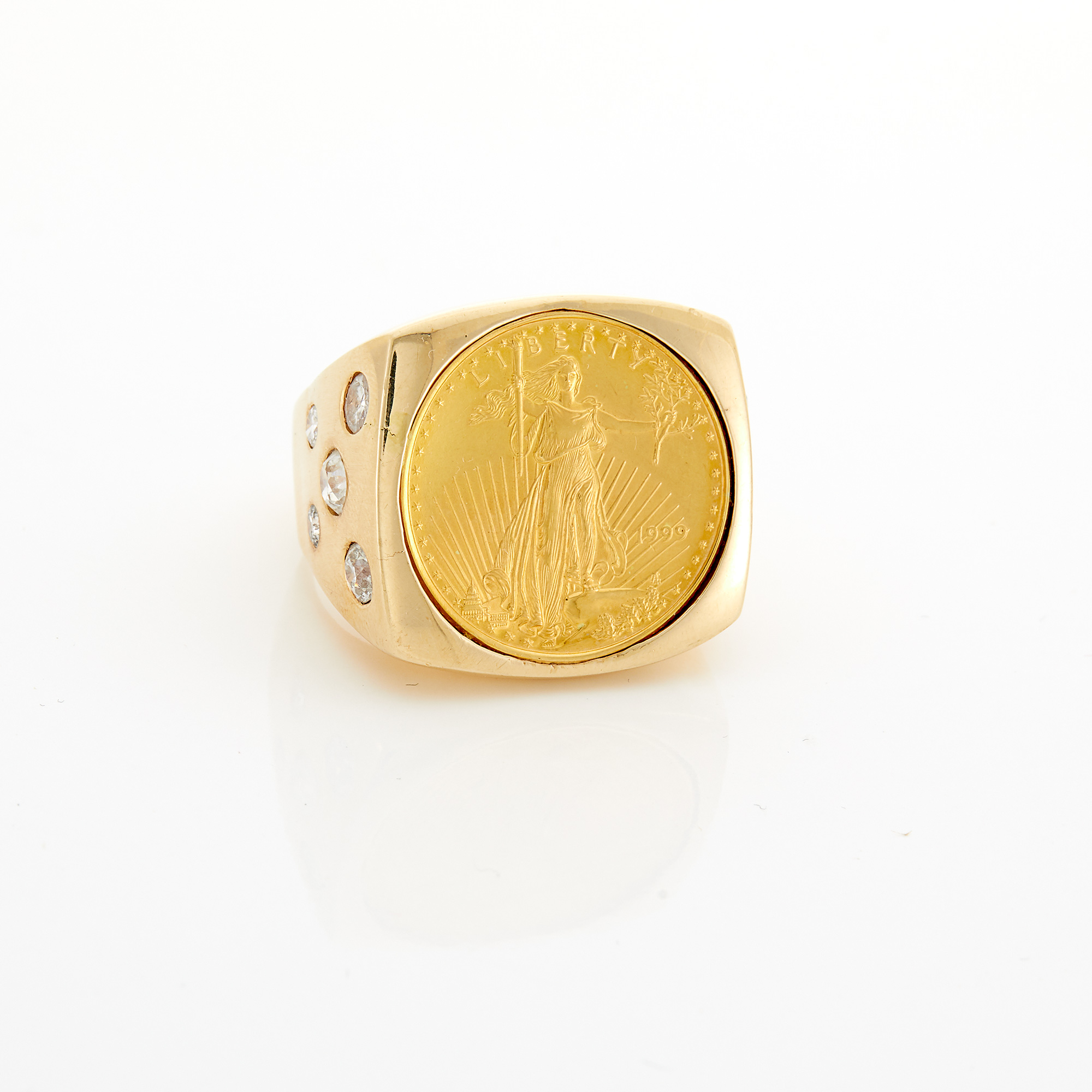 Lot image - Gold, Gold Coin and Diamond Ring