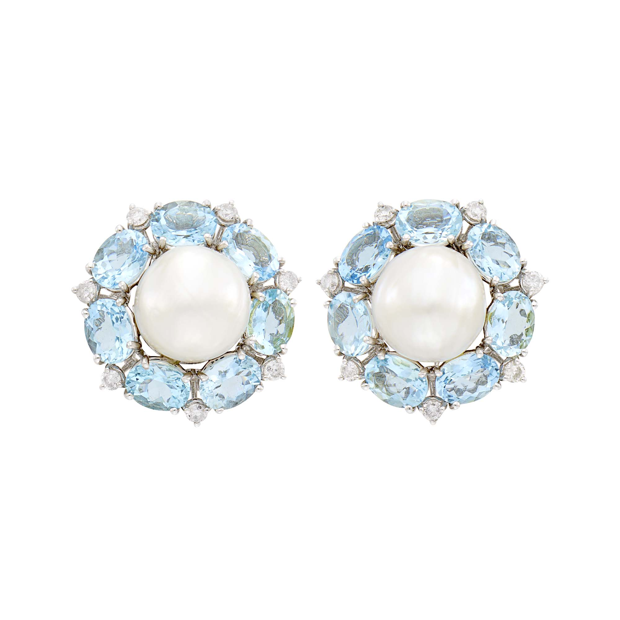 Lot image - Seaman Schepps Pair of White Gold, Baroque South Sea Cultured Pearl, Aquamarine and Diamond Earclips