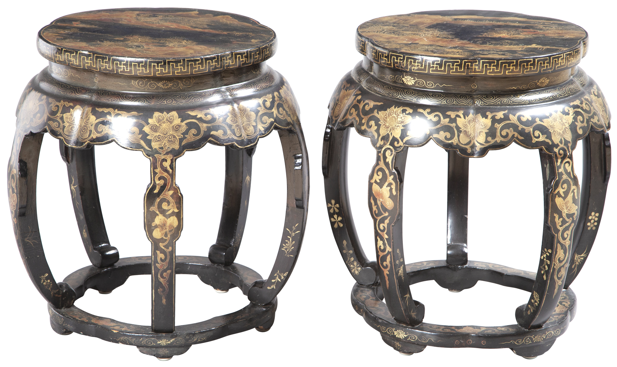 Lot image - Pair of Chinese Lacquer Barrel-Form Stools