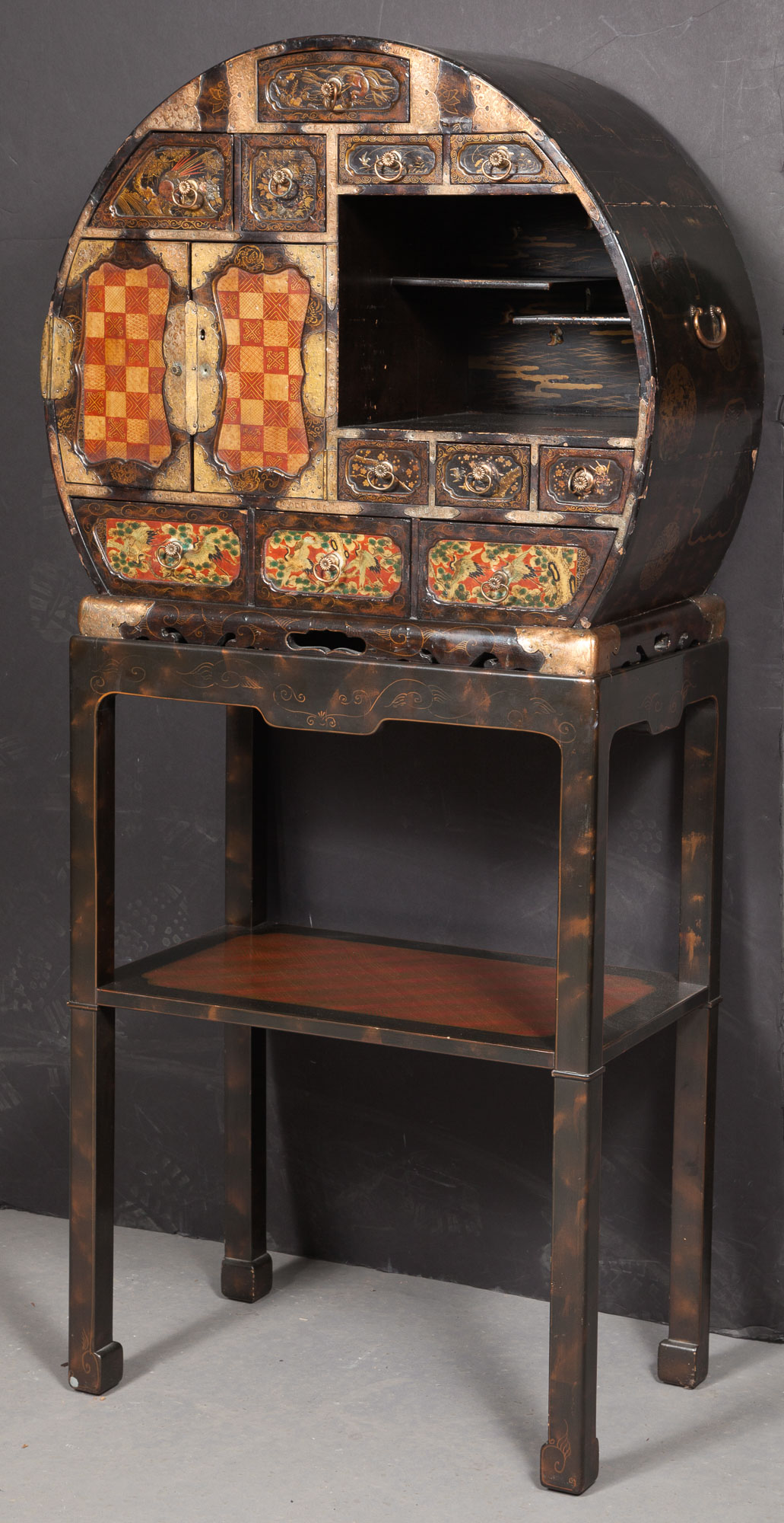 Lot image - Japanese Lacquer and Copper-Mounted Cabinet on Later Stand