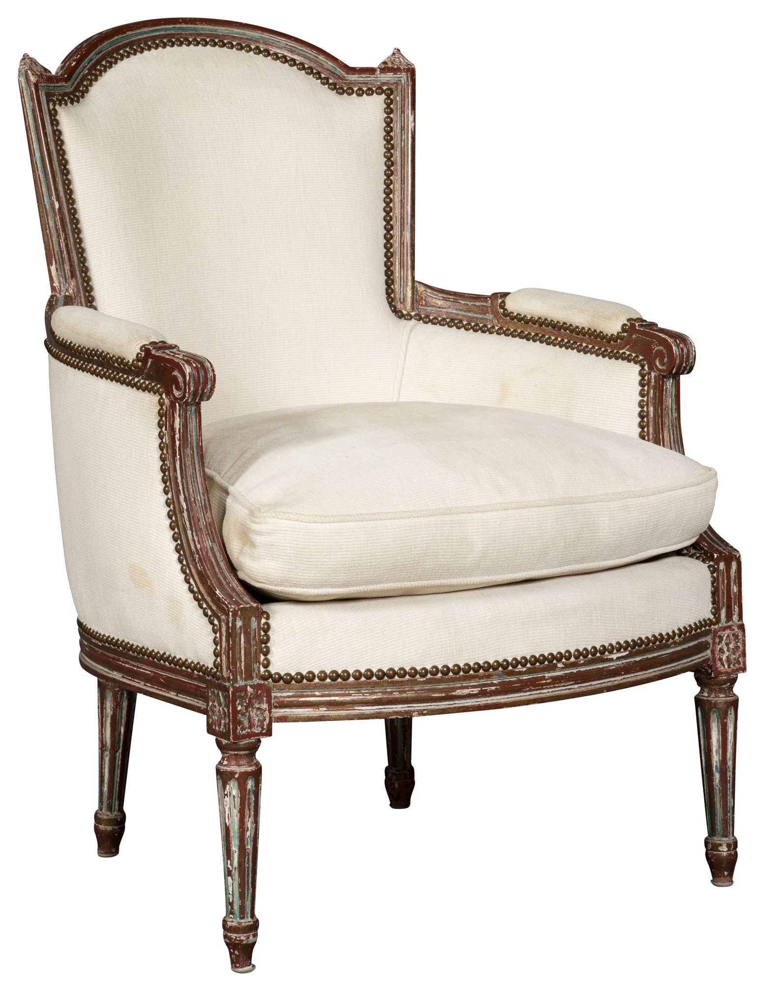 Lot image - Louis XVI Style Painted and Parcel Gilt Bergere