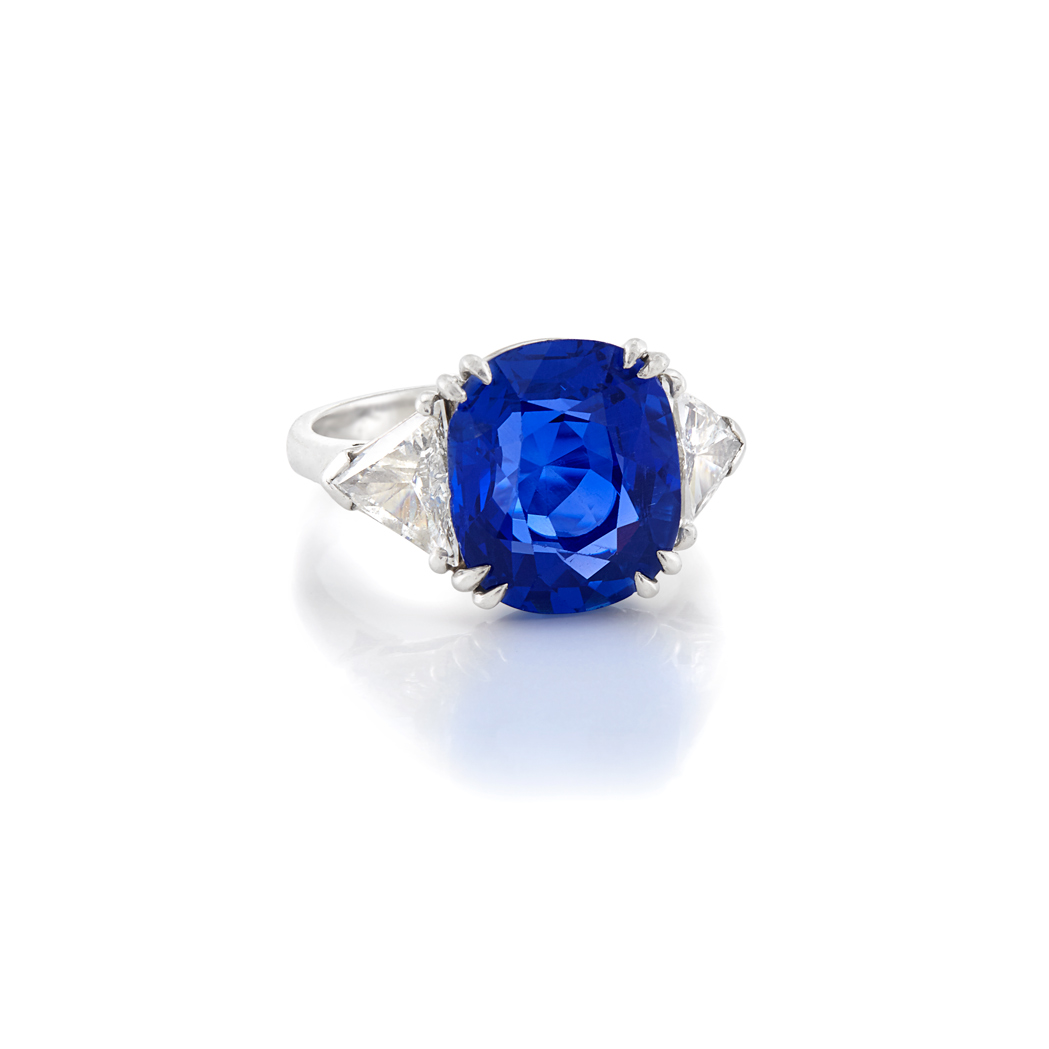 Lot image - Platinum, Sapphire and Diamond Ring, Cartier