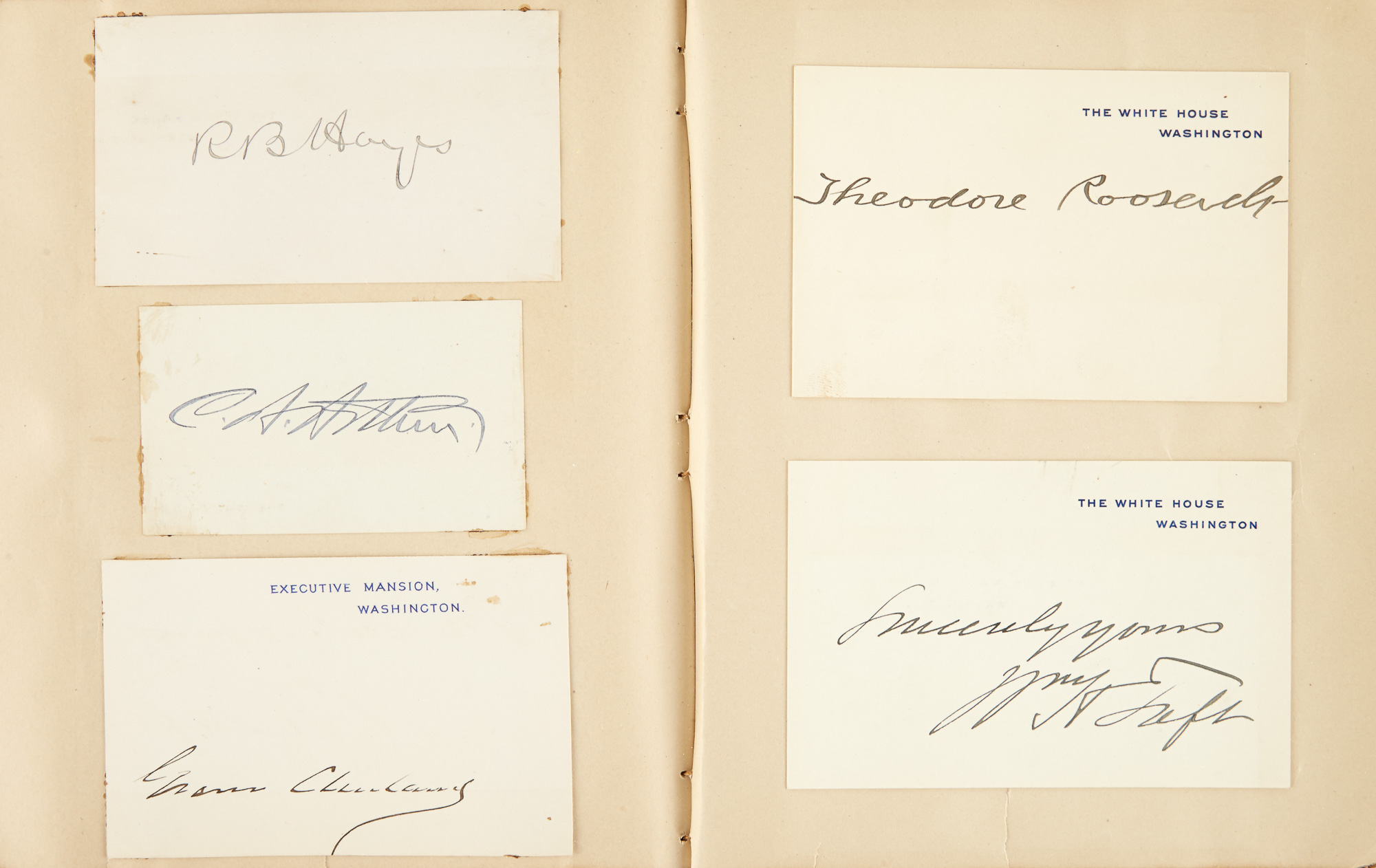 Lot image - [PRESIDENTS & AUTHORS]  Autograph album containing the signatures of nine U.S. Presidents and other notables.