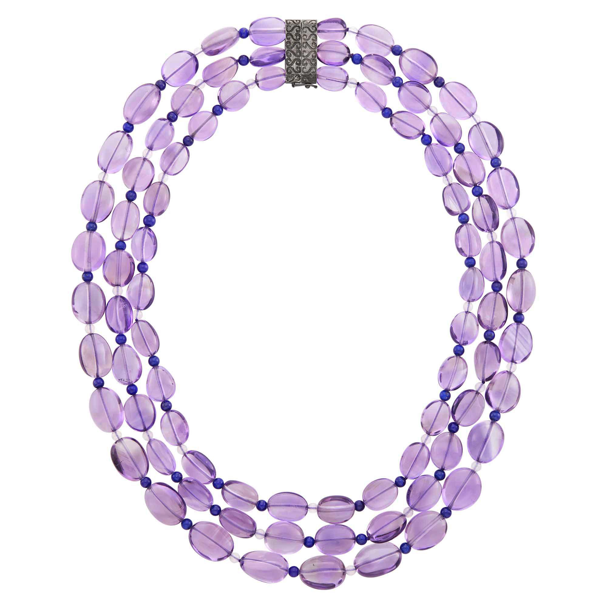 Lot image - Triple Strand Amethyst and Lapis Bead Necklace with Magnetic Clasp