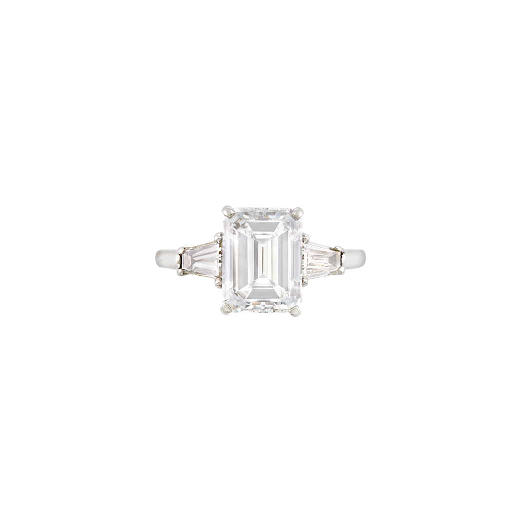 Lot image - Platinum and Diamond Ring, Cartier