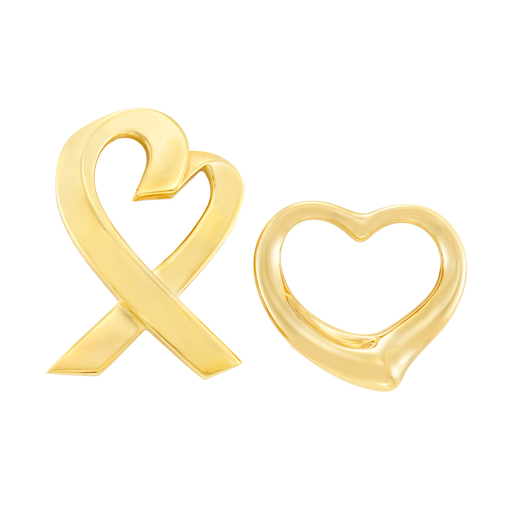 Lot image - Two Gold Heart Brooches, Tiffany & Co., Paloma Picasso and Elsa Peretti