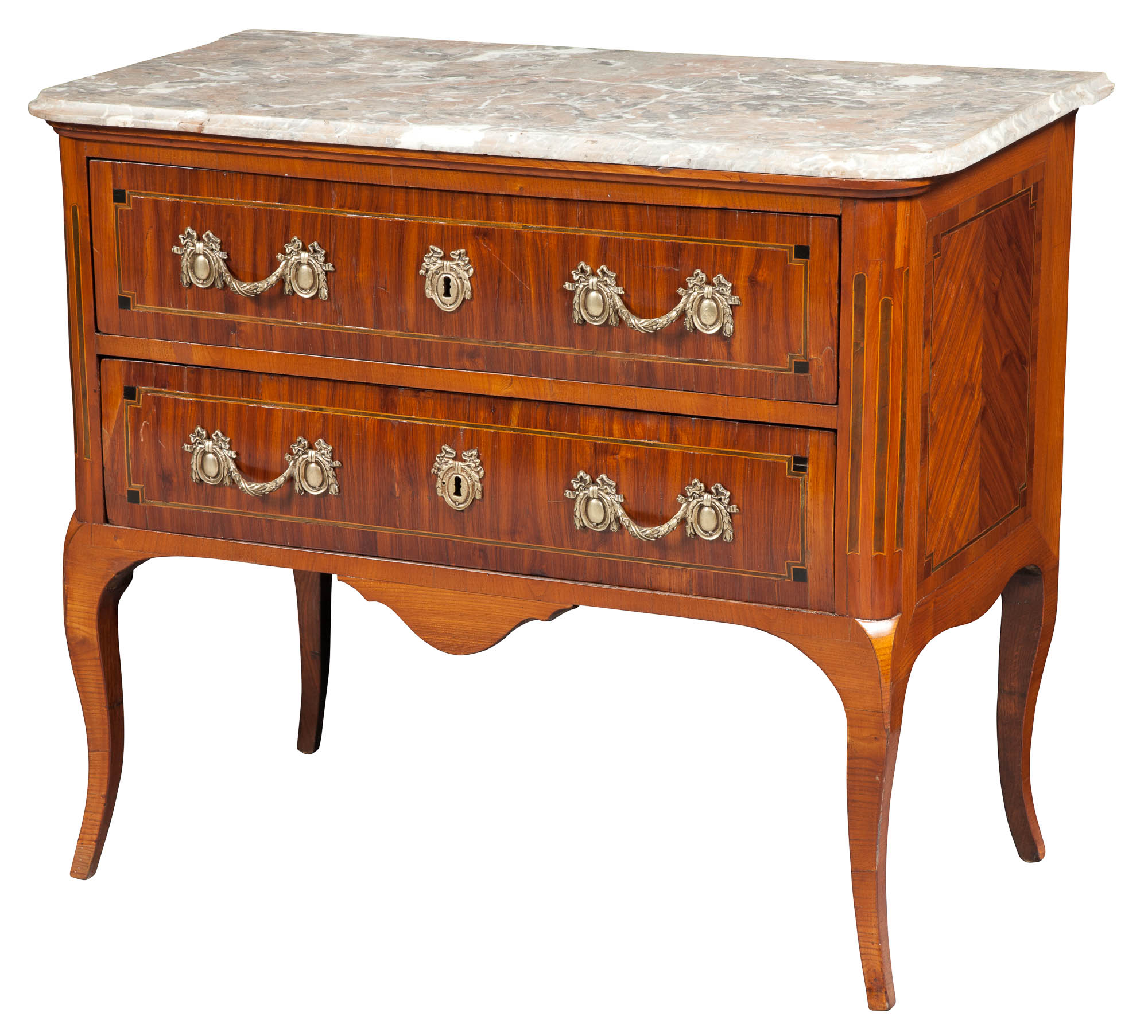 Lot image - Continental Transitional Tulipwood and Marble Top Commode