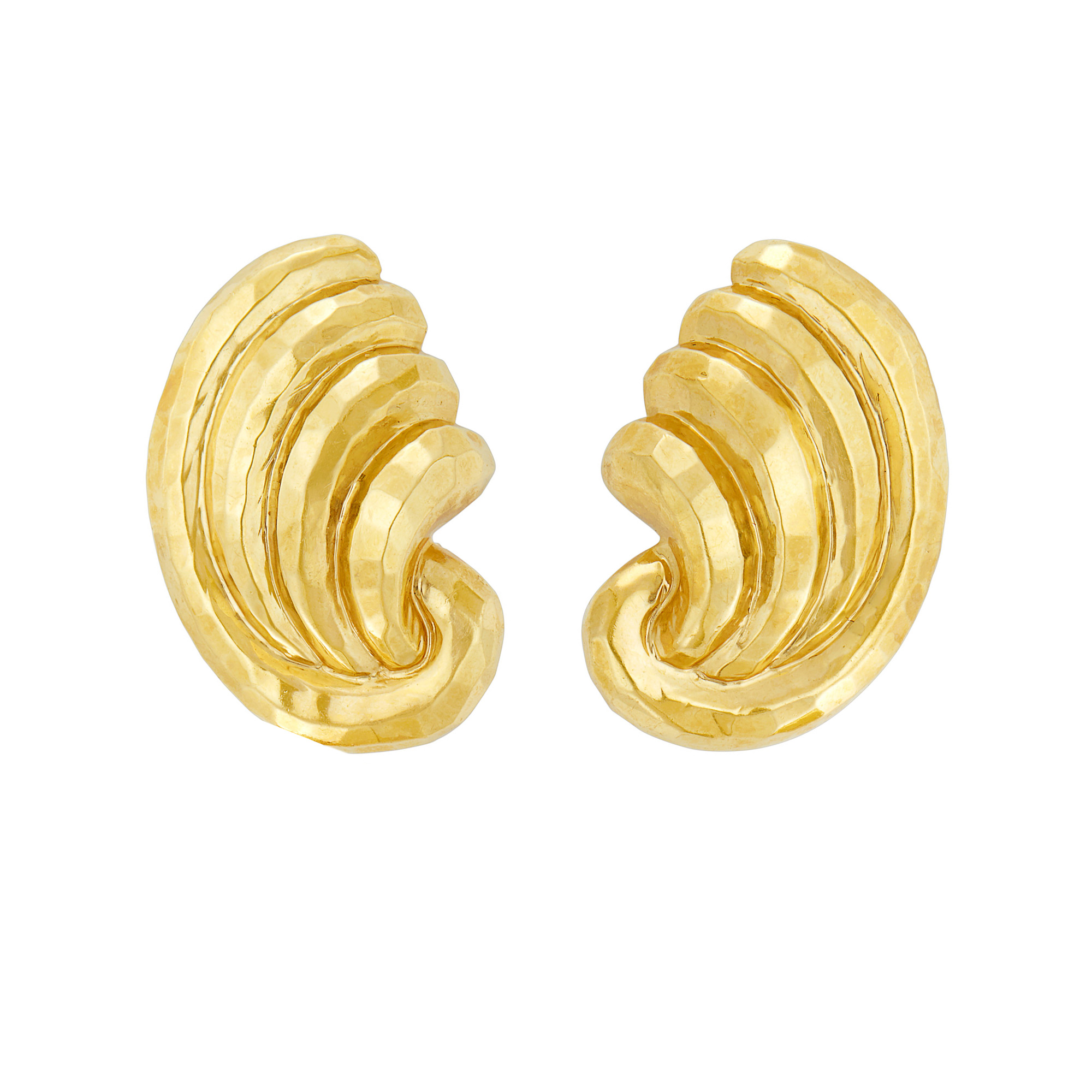 Lot image - Pair of Hammered Gold Earclips