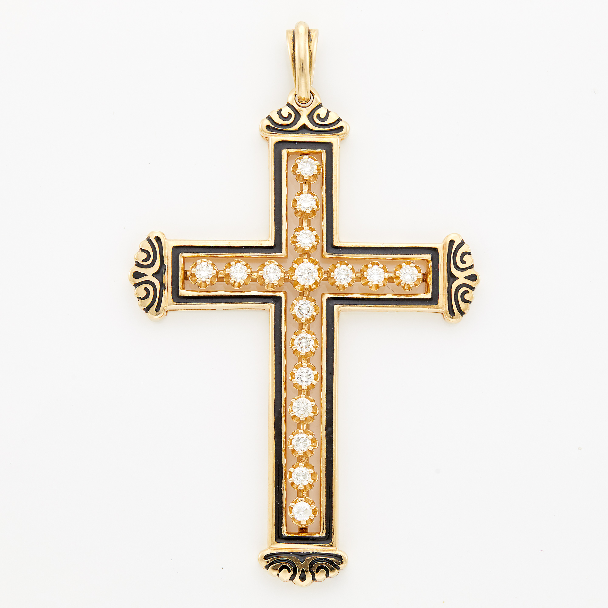 Lot image - Gold, Diamond and Enamel Cross Pendant