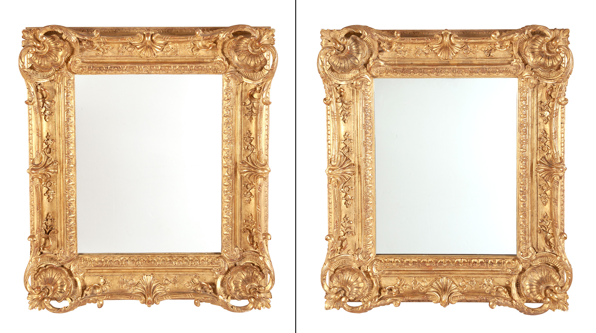 Lot image - Pair of Louis XV Style Giltwood Mirrors