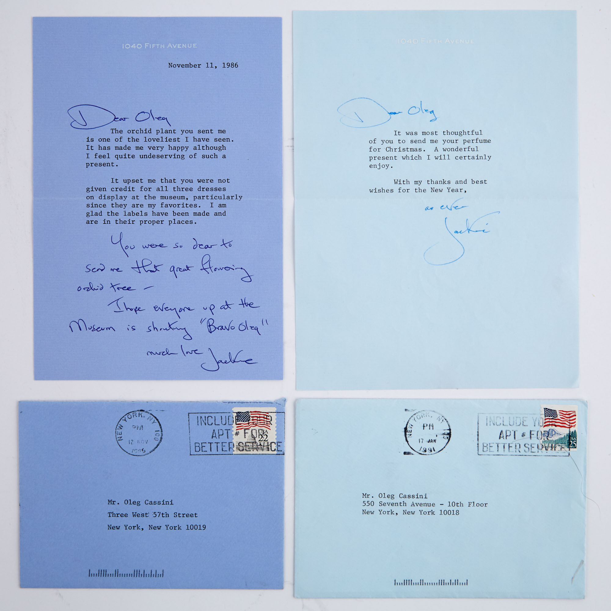 Lot image - KENNEDY ONASSIS, JACQUELINE  Two typed letters signed to Oleg Cassini.