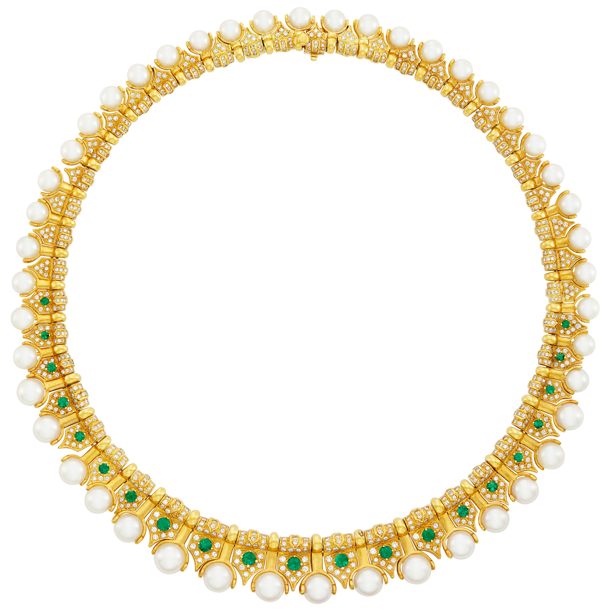 Lot image - Gold, Cultured Pearl, Emerald and Diamond Necklace