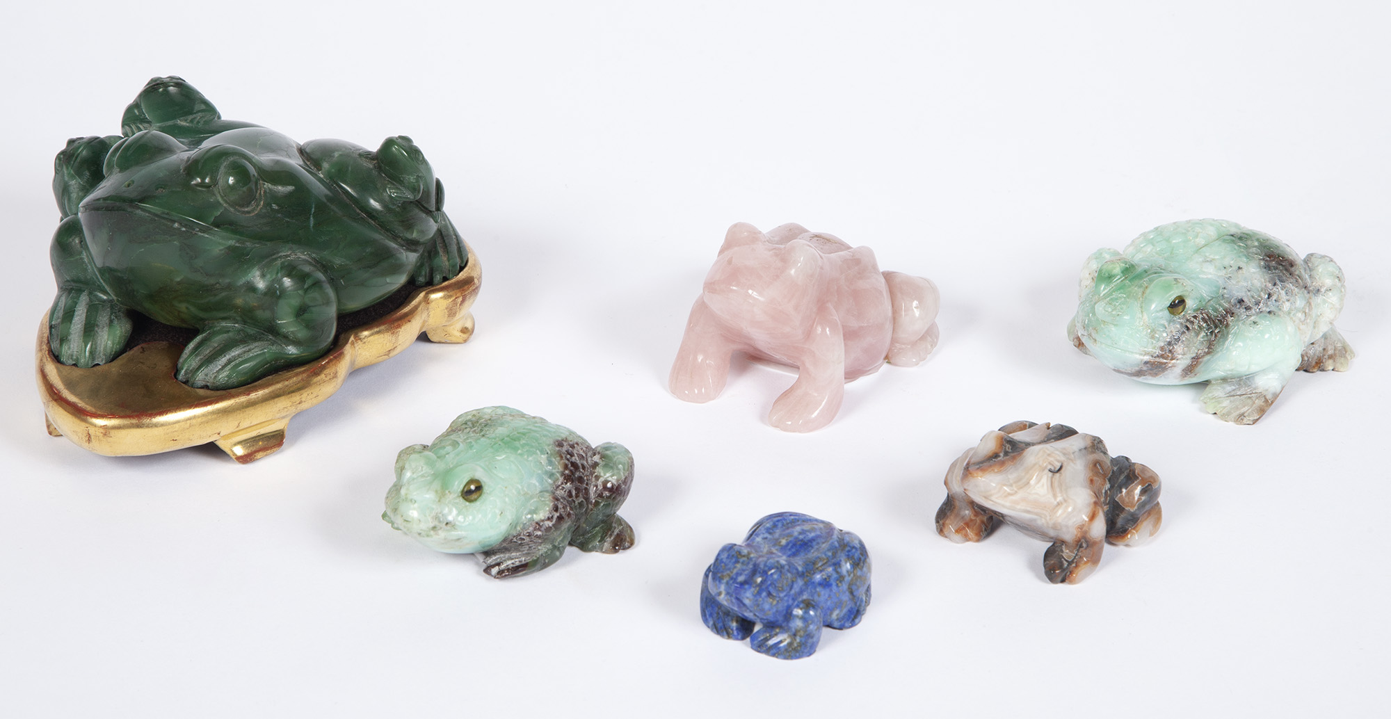 Lot image - Group of Six Various Hardstone Toads