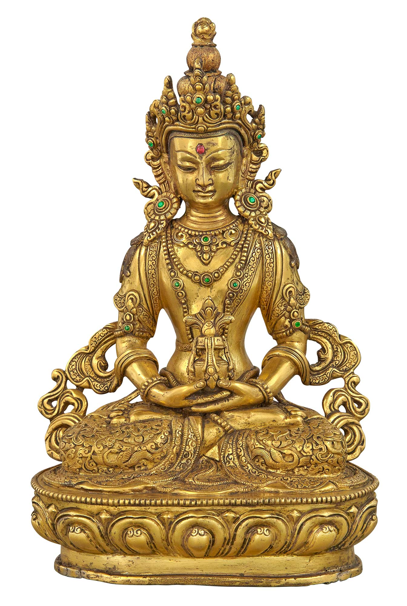 Lot image - Tibetan Gilt-Bronze Figure of Amitayus