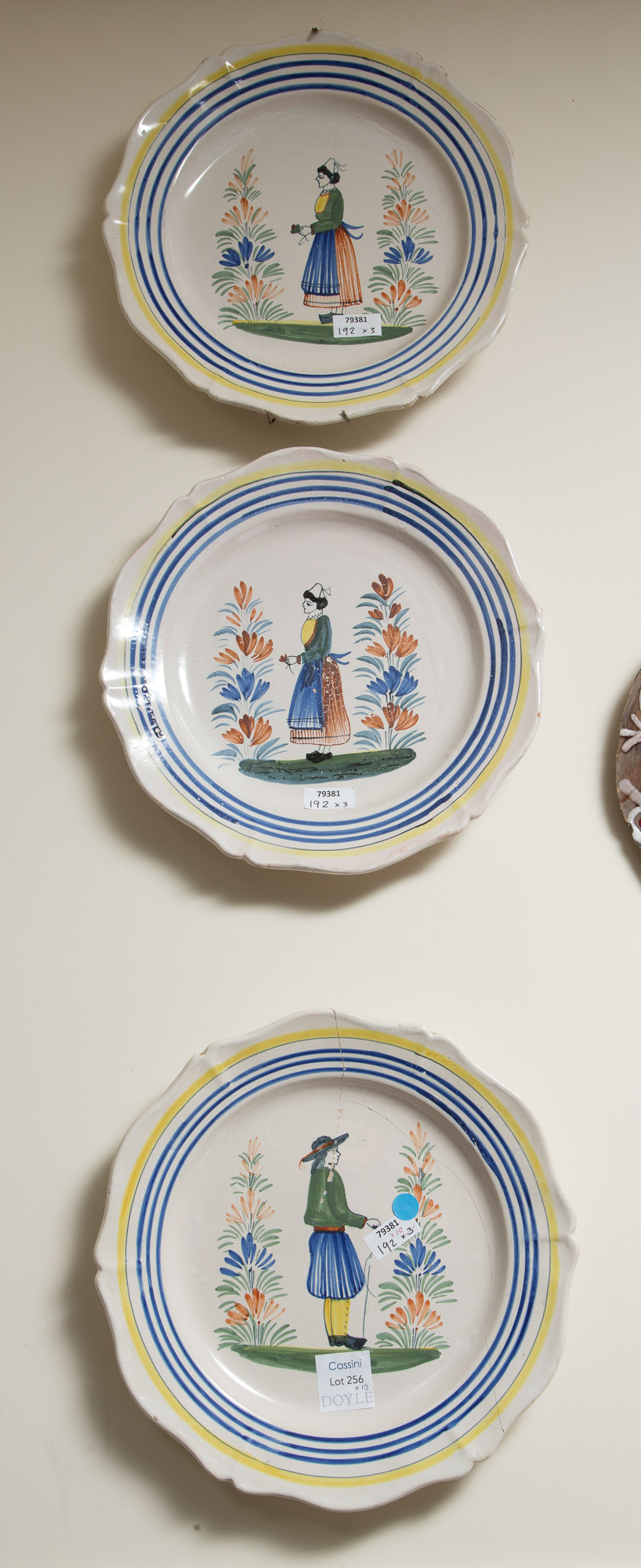 Lot image - Three Quimper Pottery Chargers