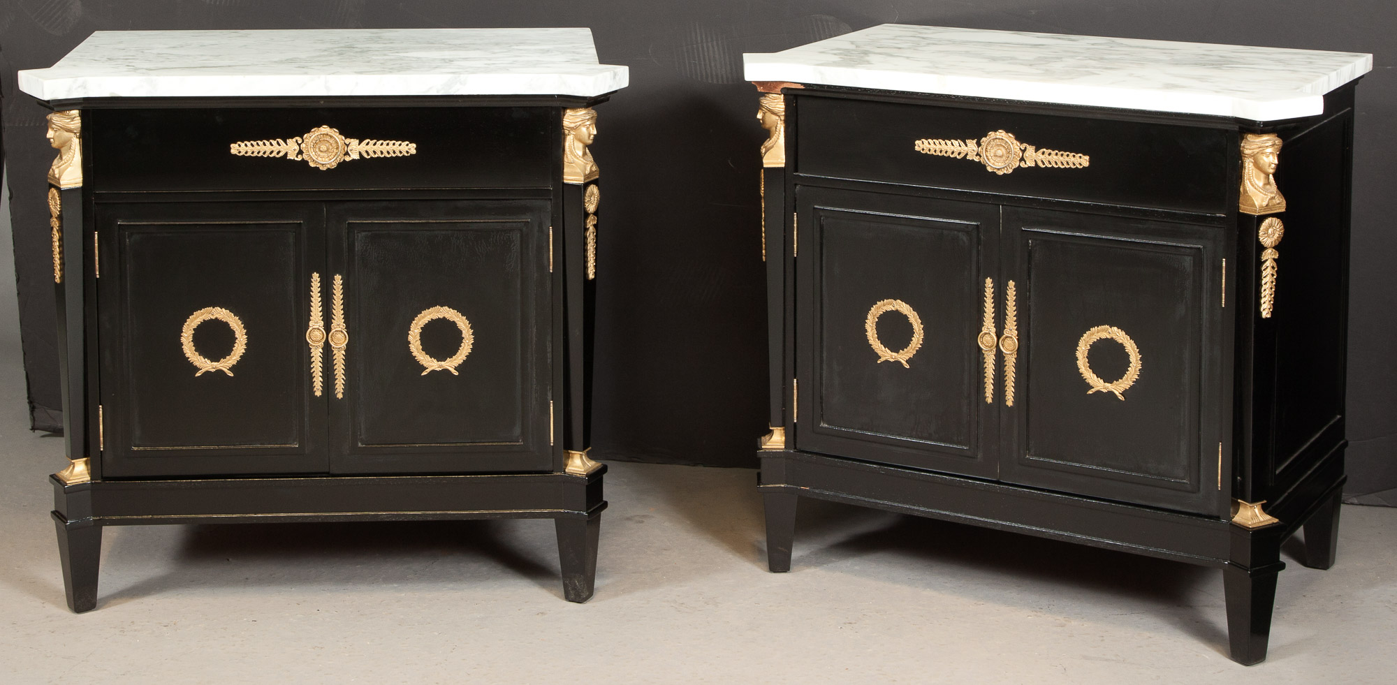 Lot image - Pair of Empire Style Bronze Mounted Black Lacquer White Marble Top Bedside Cabinets