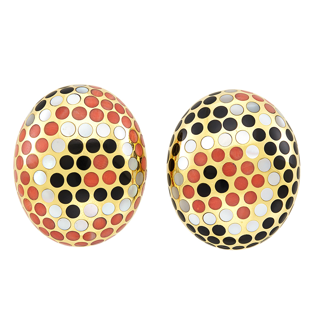 Lot image - Pair of Gold, Coral, Mother-of-Pearl and Black Jade Polka Dot Earclips, Angela Cummings