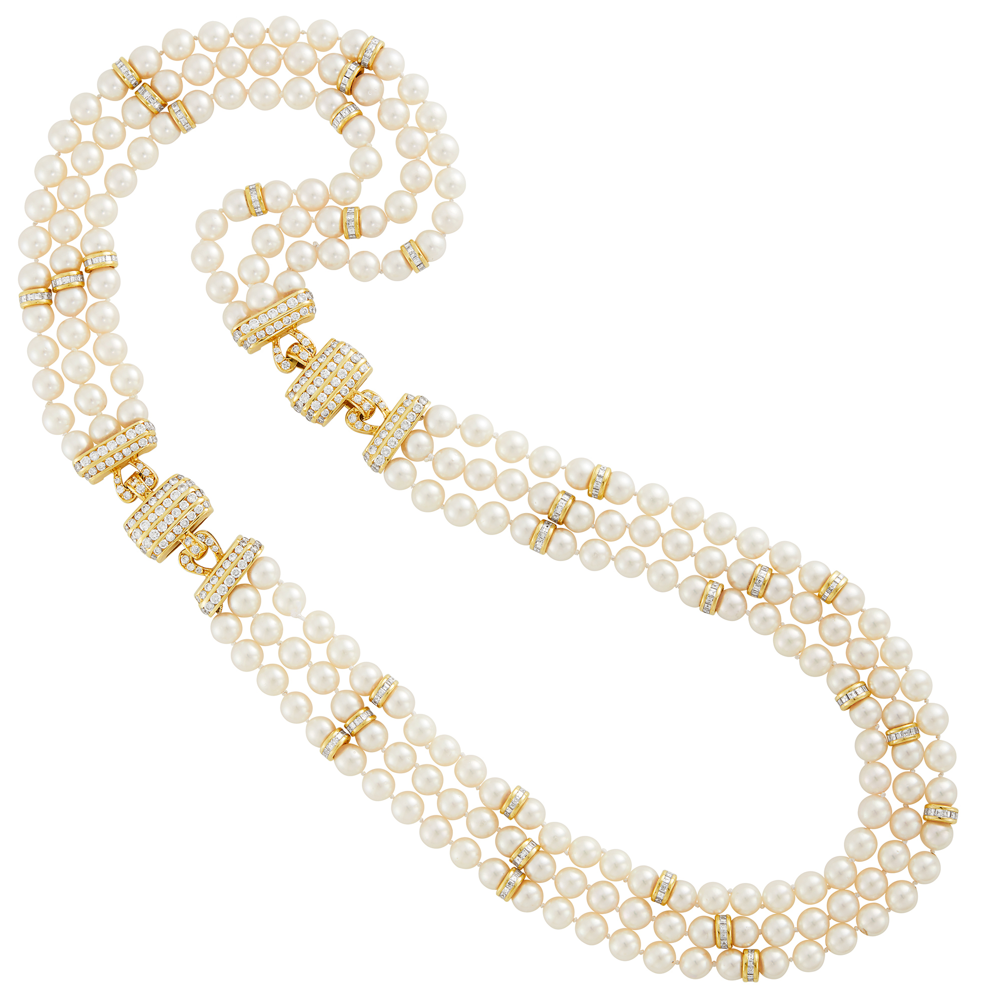 Lot image - Triple Strand Cultured Pearl, Gold and Diamond Necklace