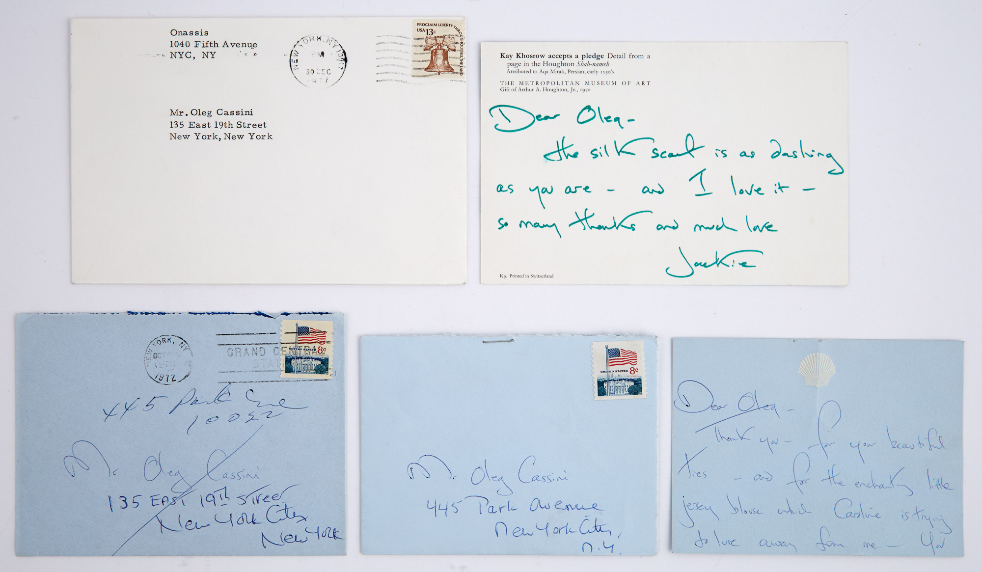 Lot image - KENNEDY ONASSIS, JACQUELINE  Two autograph notes signed to Oleg Cassini.