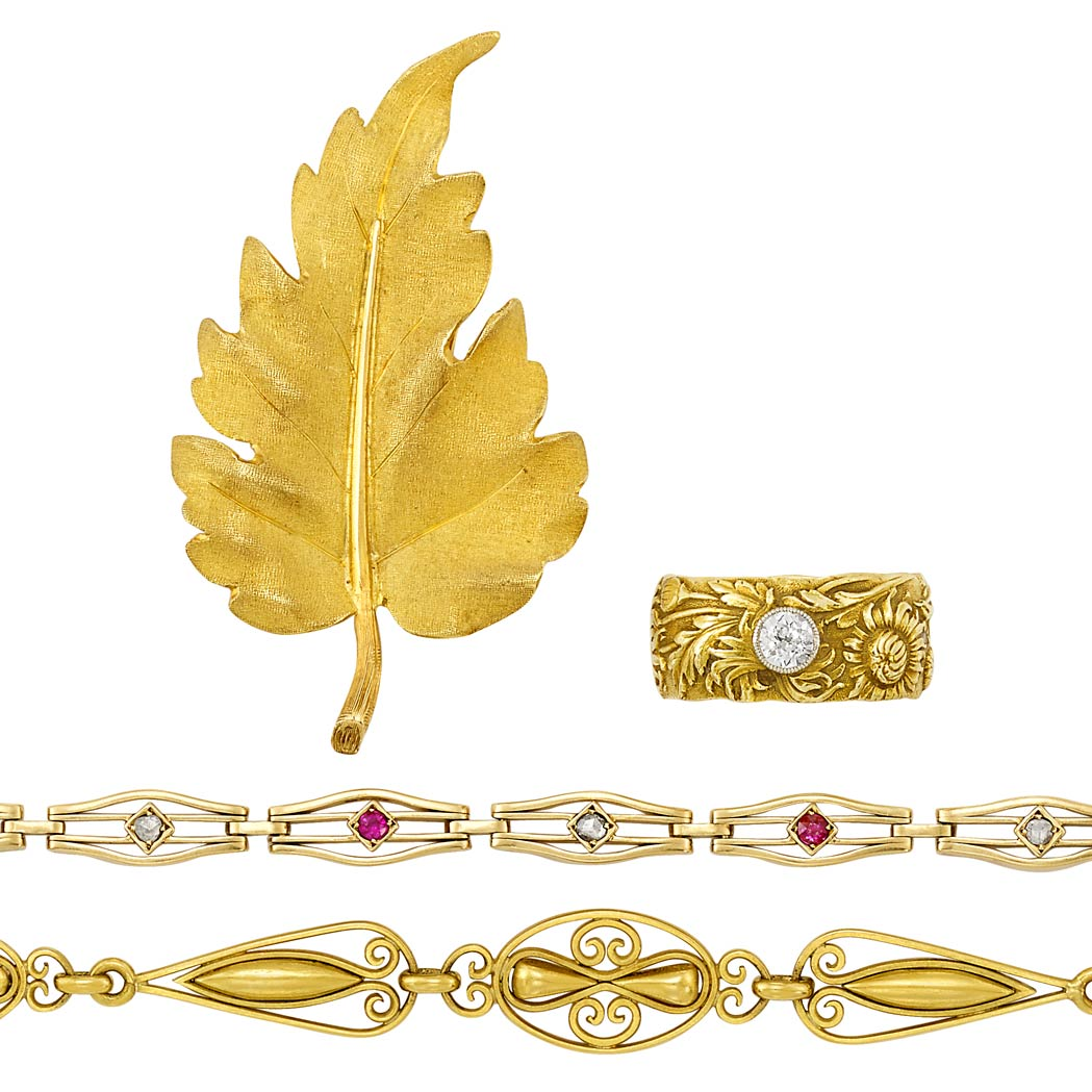 Lot image - Gold Leaf Pin, Buccellati, Two Antique Gold, Ruby and Diamond Bracelets and Gold and Diamond Harvest Band Ring