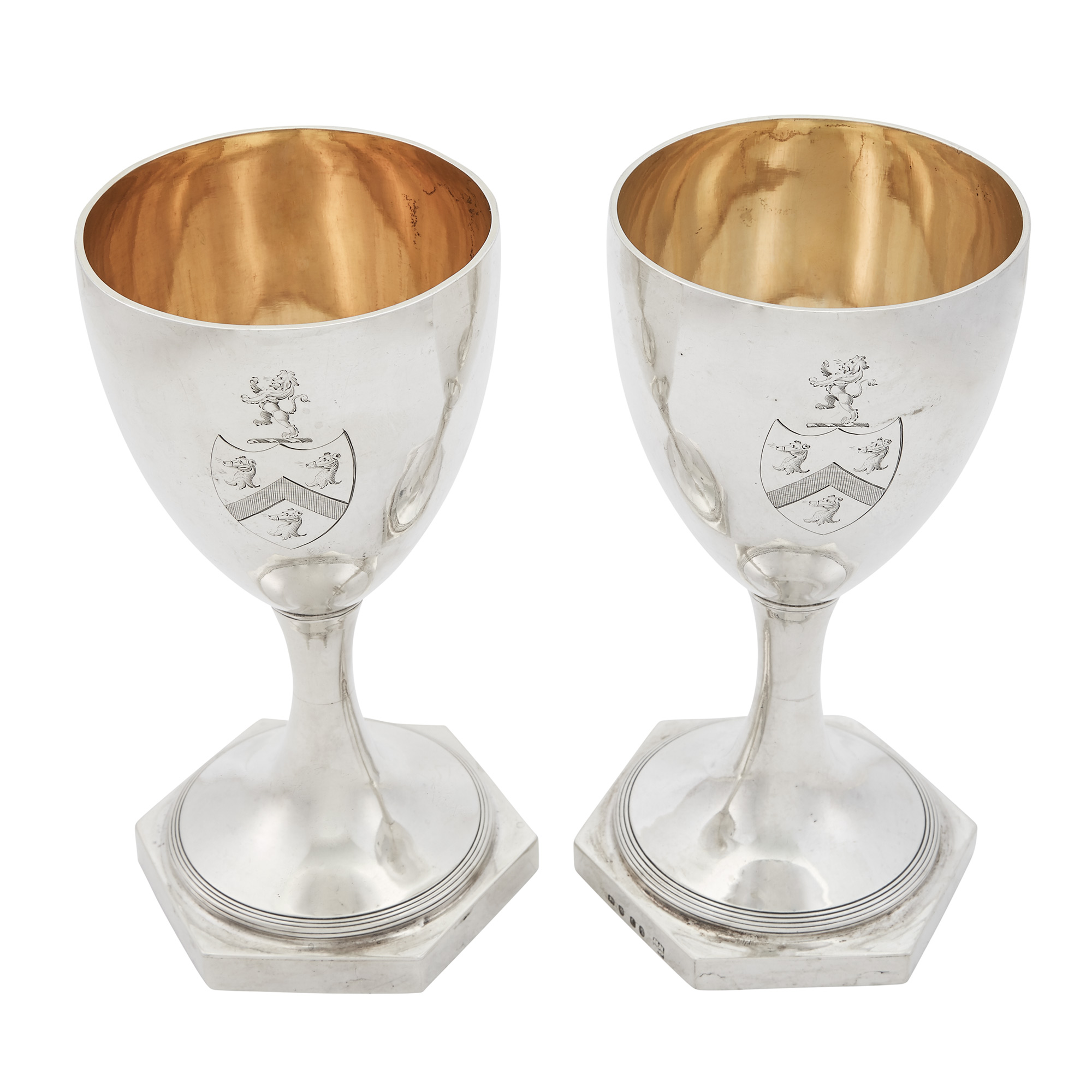 Lot image - Pair of George III Sterling Silver Goblets