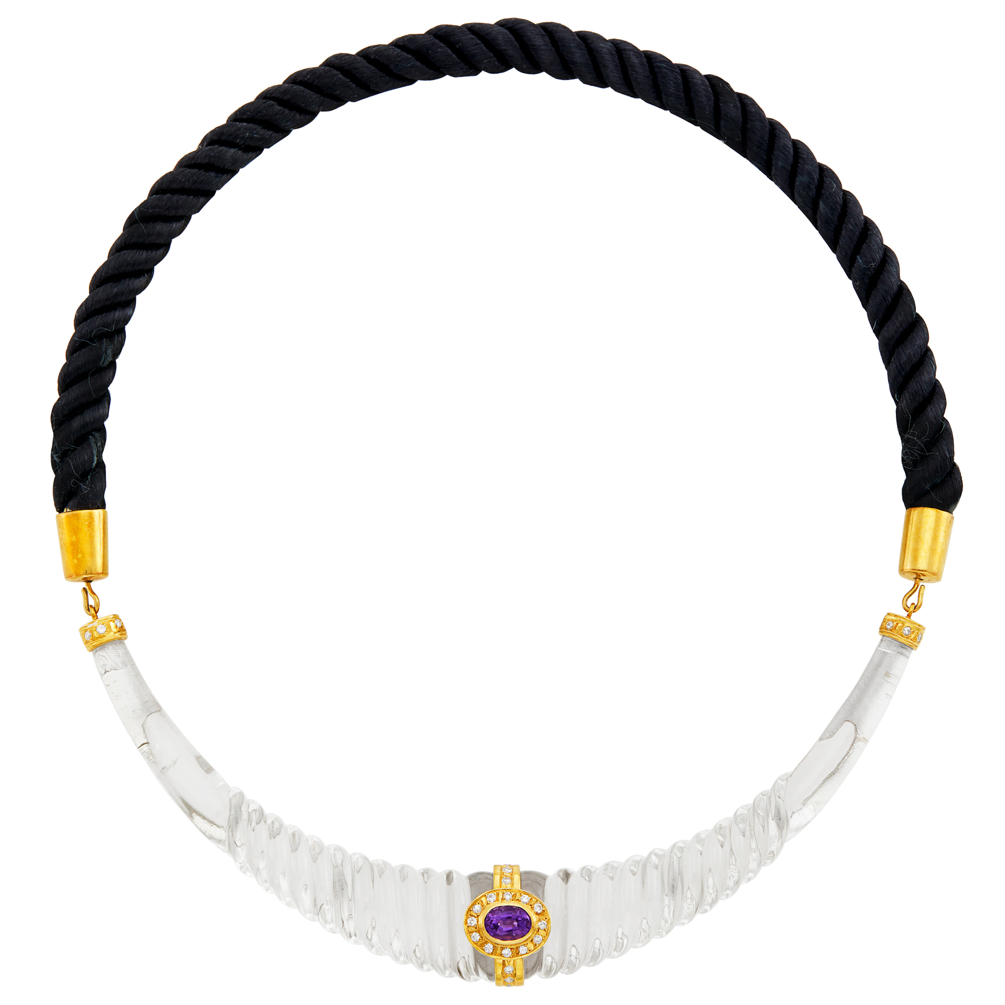 Lot image - Gold, Fluted Rock Crystal, Amethyst, Diamond and Black Silk Cord Necklace